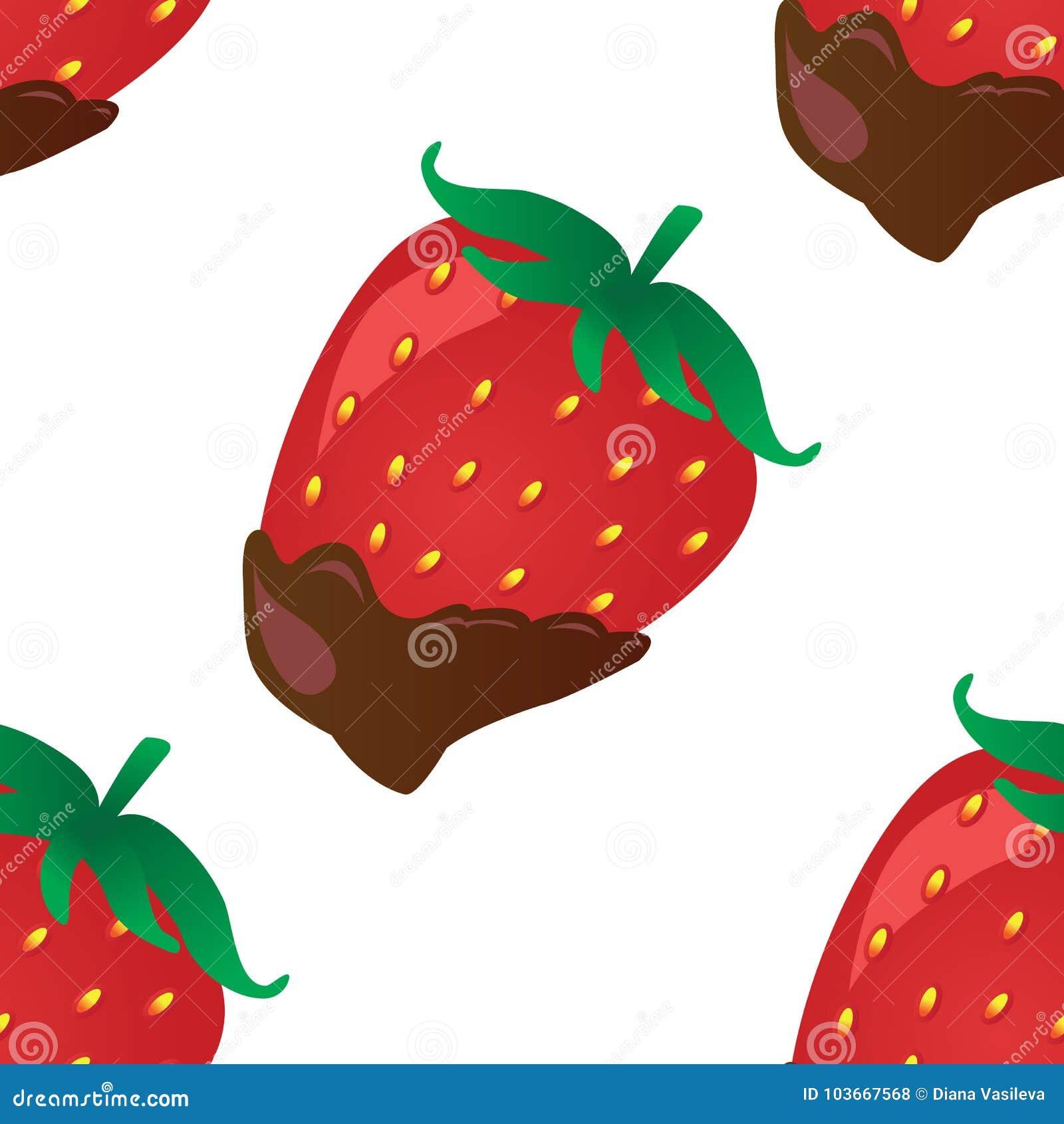 Fond de vecteur avec la fraise en chocolat