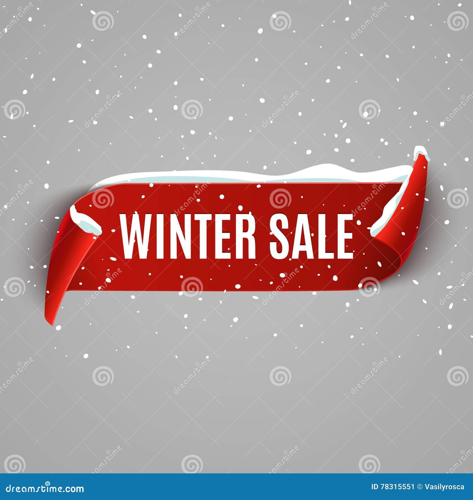 Fond de vente d hiver avec le ruban réaliste rouge Conception promotionnelle d affiche ou de bannière d hiver avec la neige Remis