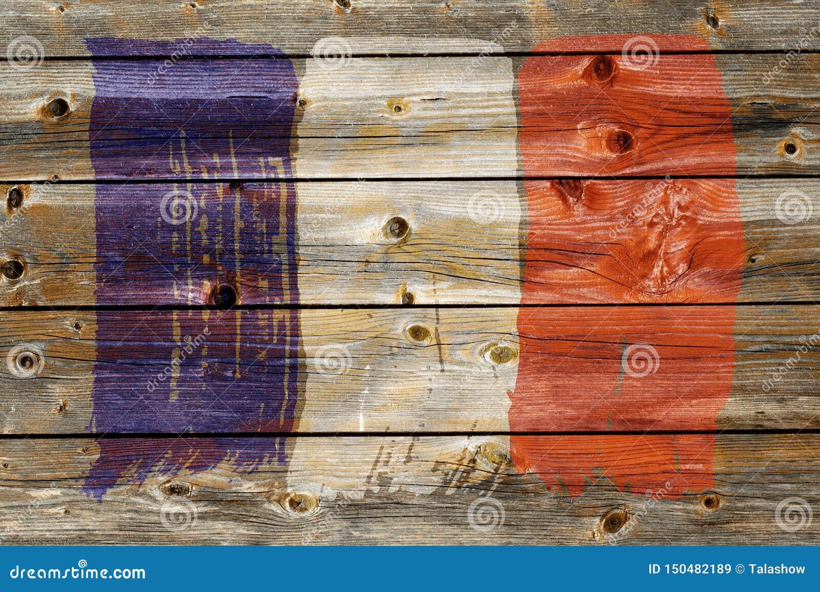 Fond de vieux drapeau français dans le style grunge