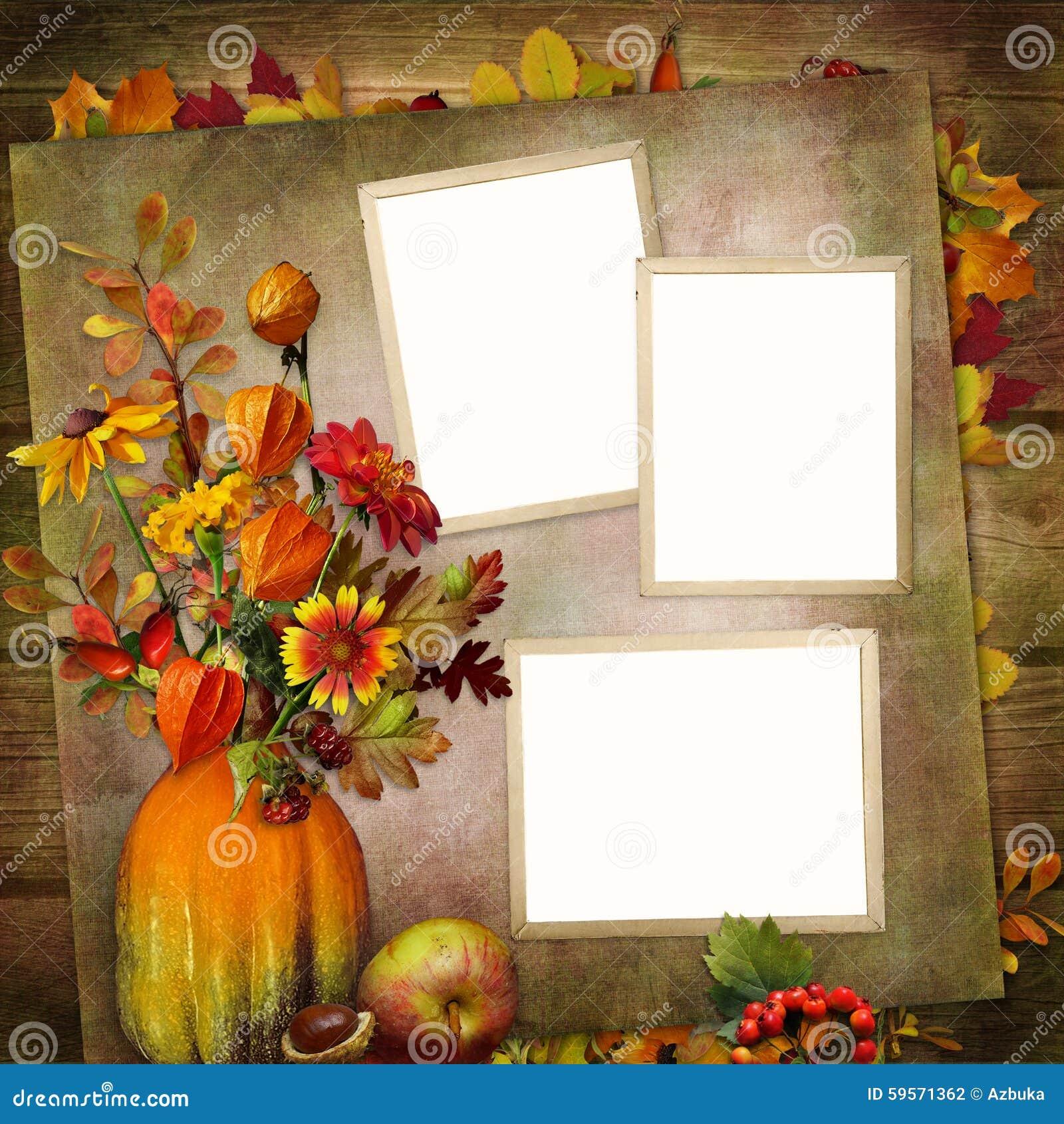 fond de vintage avec des cadres bouquet des feuilles d 39 automne et baies dans un vase de potiron. Black Bedroom Furniture Sets. Home Design Ideas
