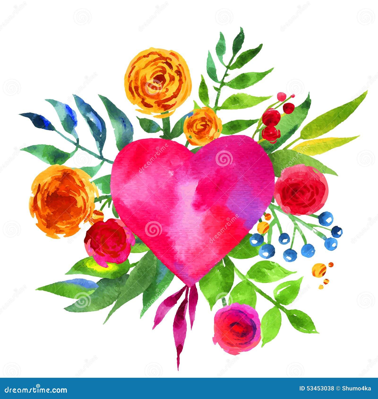 fond de vintage avec des fleurs l 39 amour et au coeur de fleur coeur floral de belle aquarelle. Black Bedroom Furniture Sets. Home Design Ideas