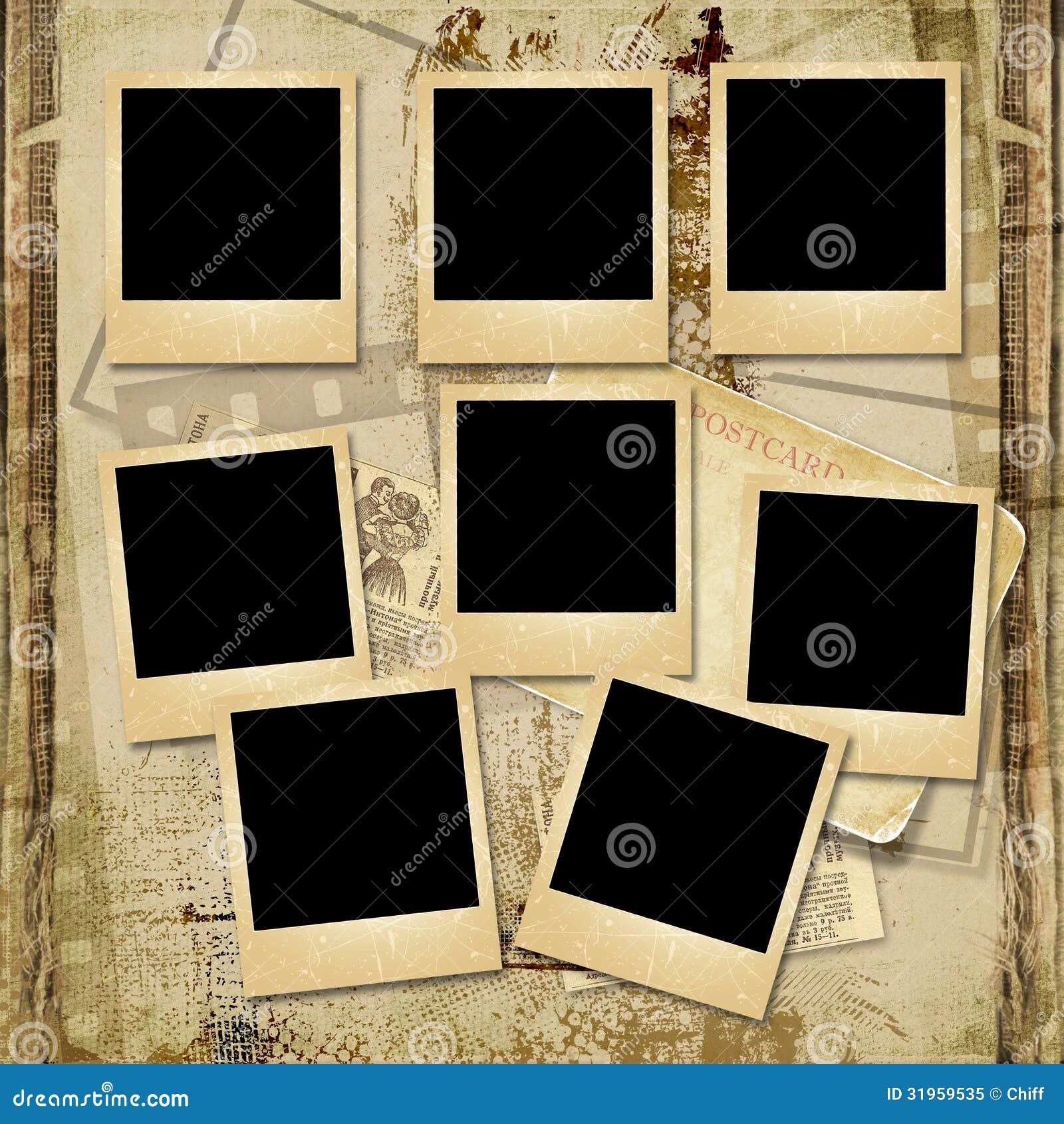 fond de vintage avec la pile du vieux cadre polaro d photo. Black Bedroom Furniture Sets. Home Design Ideas