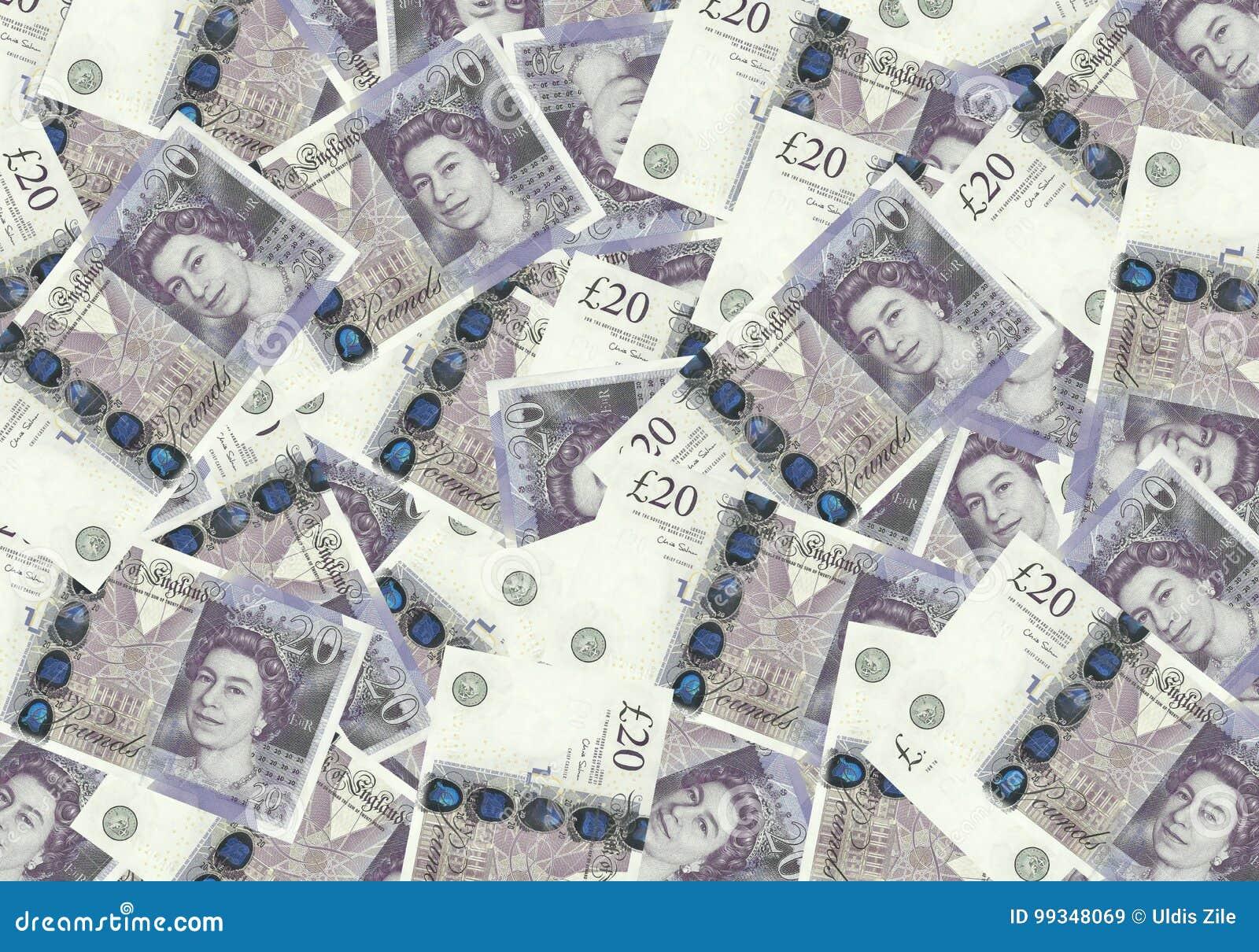 Fond des billets de banque de 20 livre sterling, concept financier Économie de riches de succès de concept