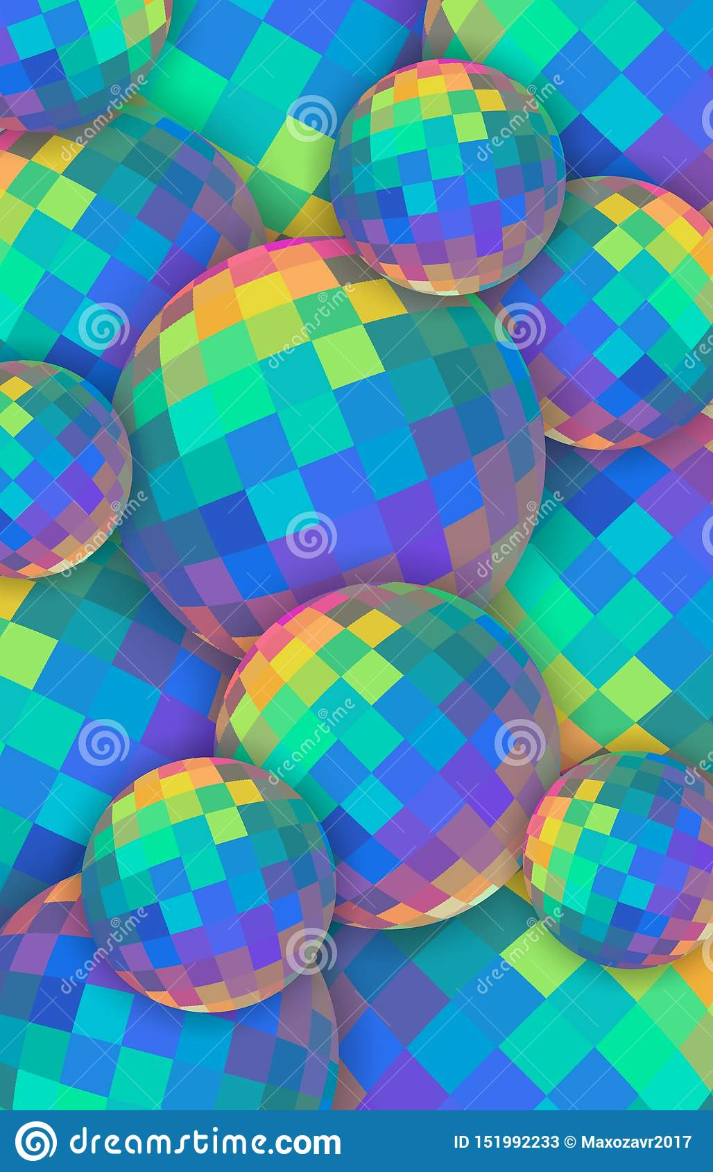Fond des boules de cristal 3d d arc-en-ciel Sphères en verre iridescentes rouges vertes jaunes bleues Bannière verticale créative