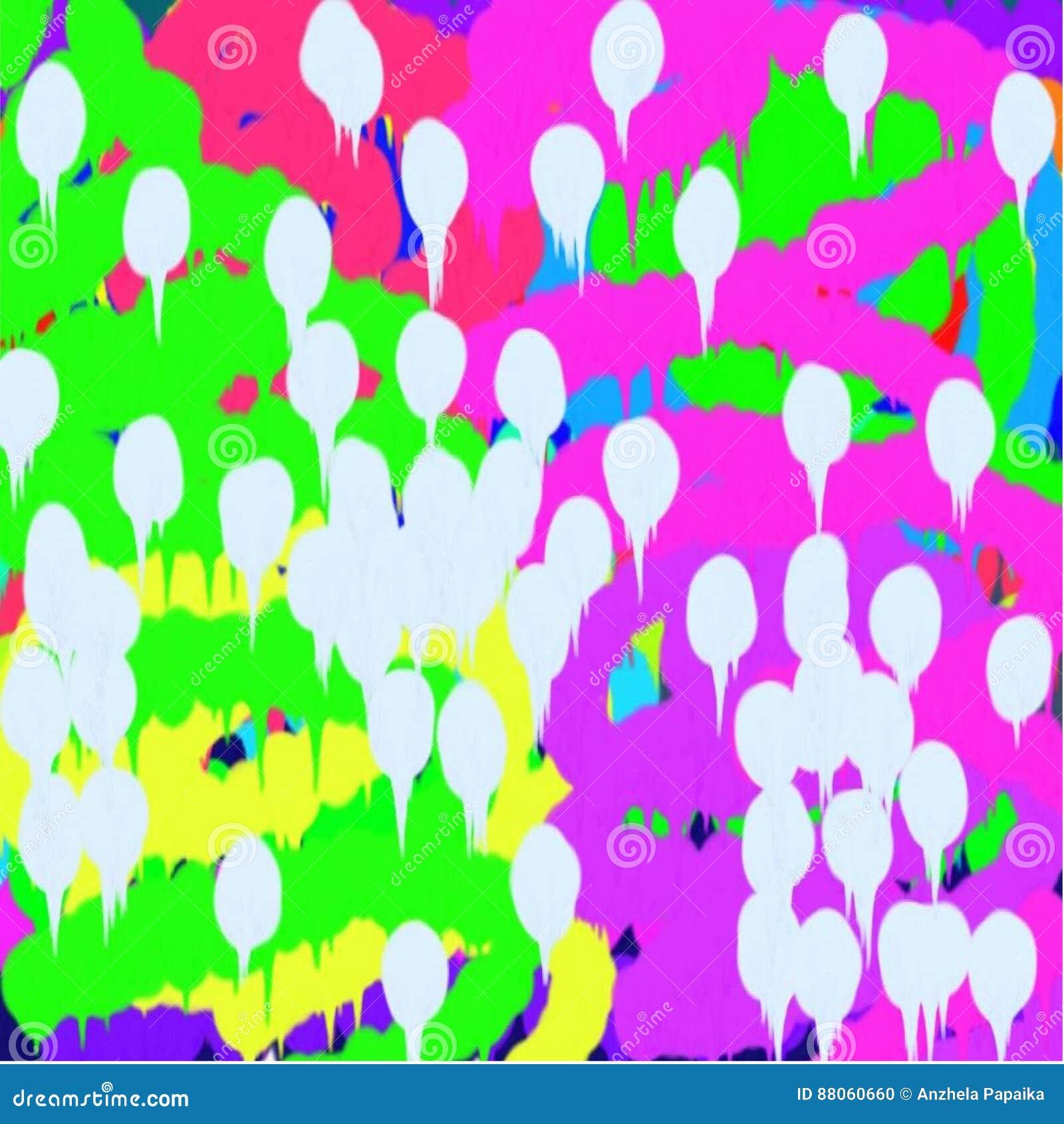 Fond des lignes vertes et bleues et roses et taches blanches de peinture débordante diffuse