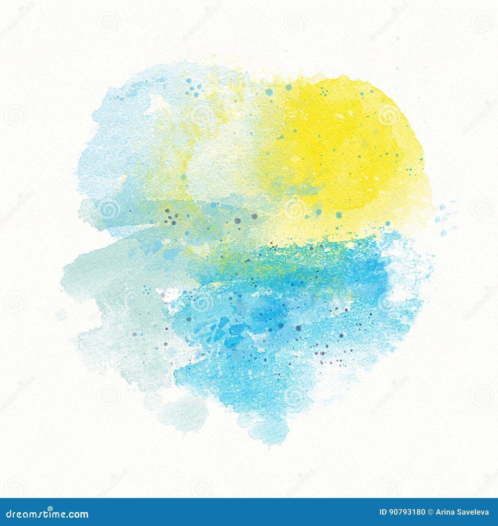 Fond, divorce, tache et jet jaunes bleus abstraits d aquarelle Sun et mer, plage, coucher du soleil, paysage