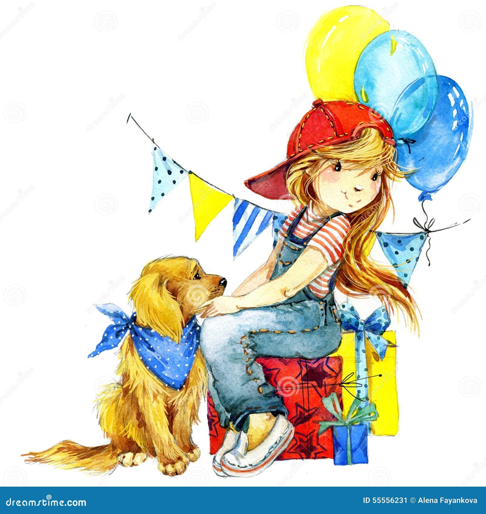 Fond drôle de vacances de fille et d anniversaire Illustration d aquarelle