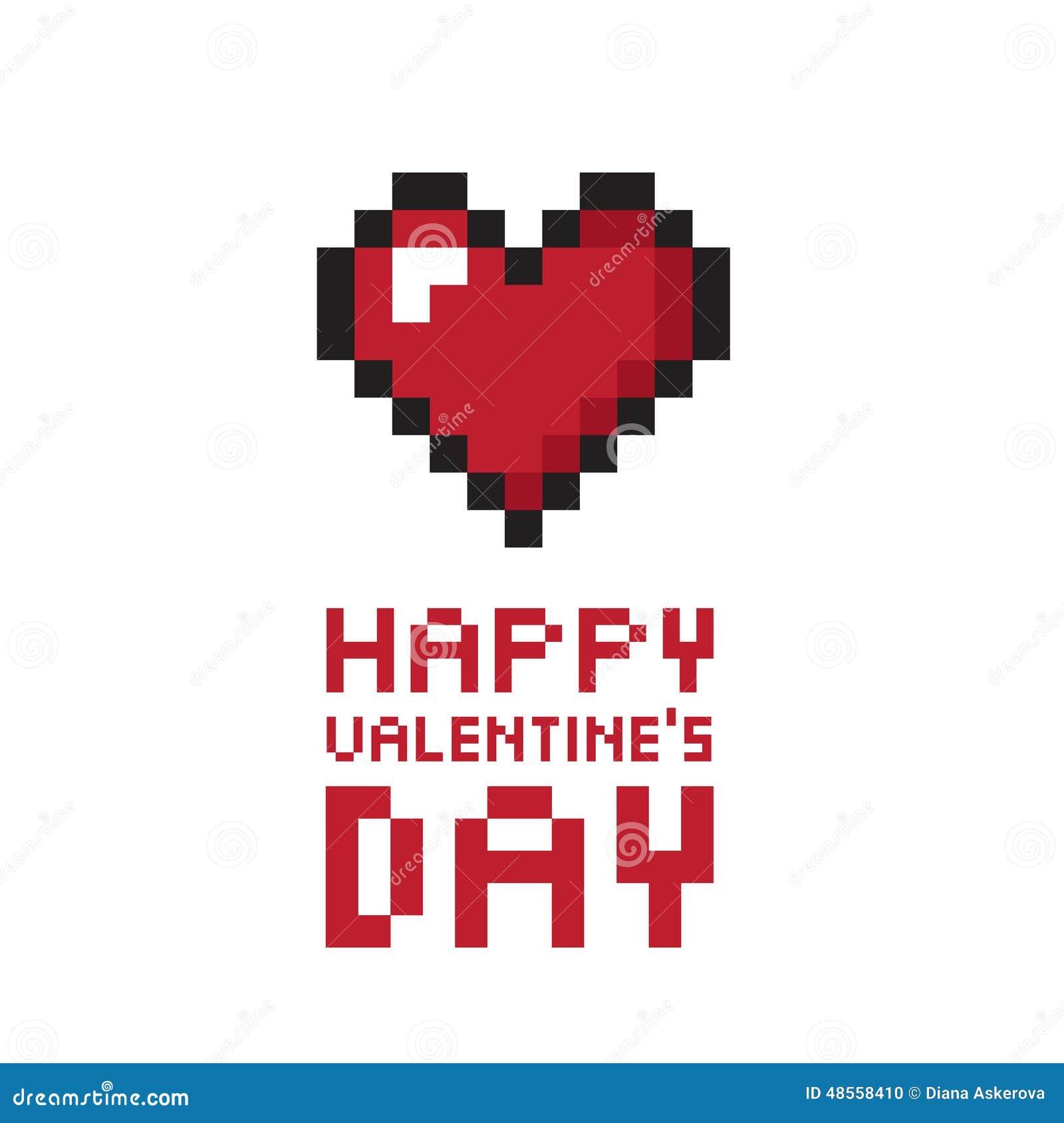 Fond Du Jour De Valentine De Pixel Illustration De Vecteur