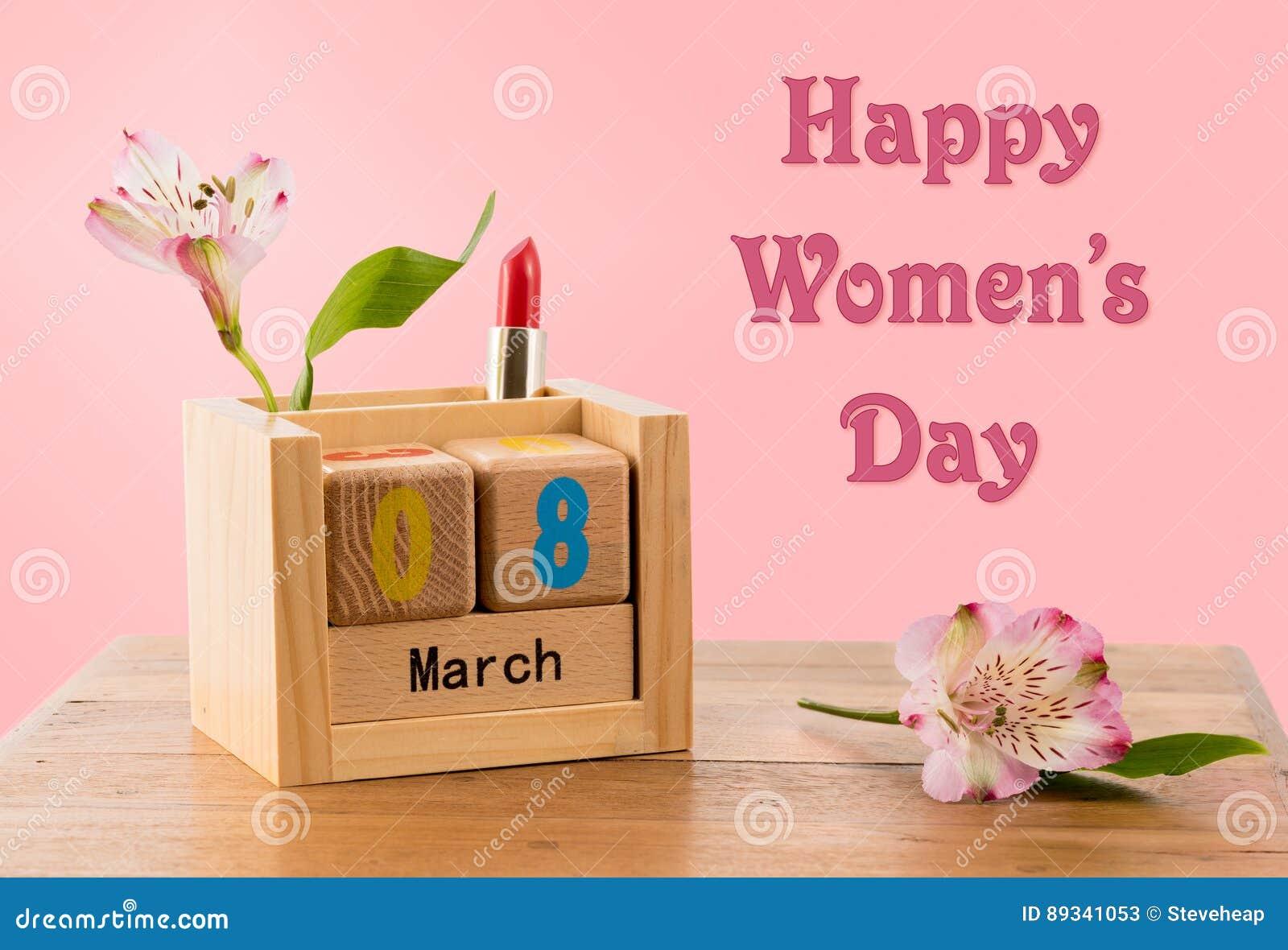 Fond du jour des femmes heureuses avec le calendrier et la fleur