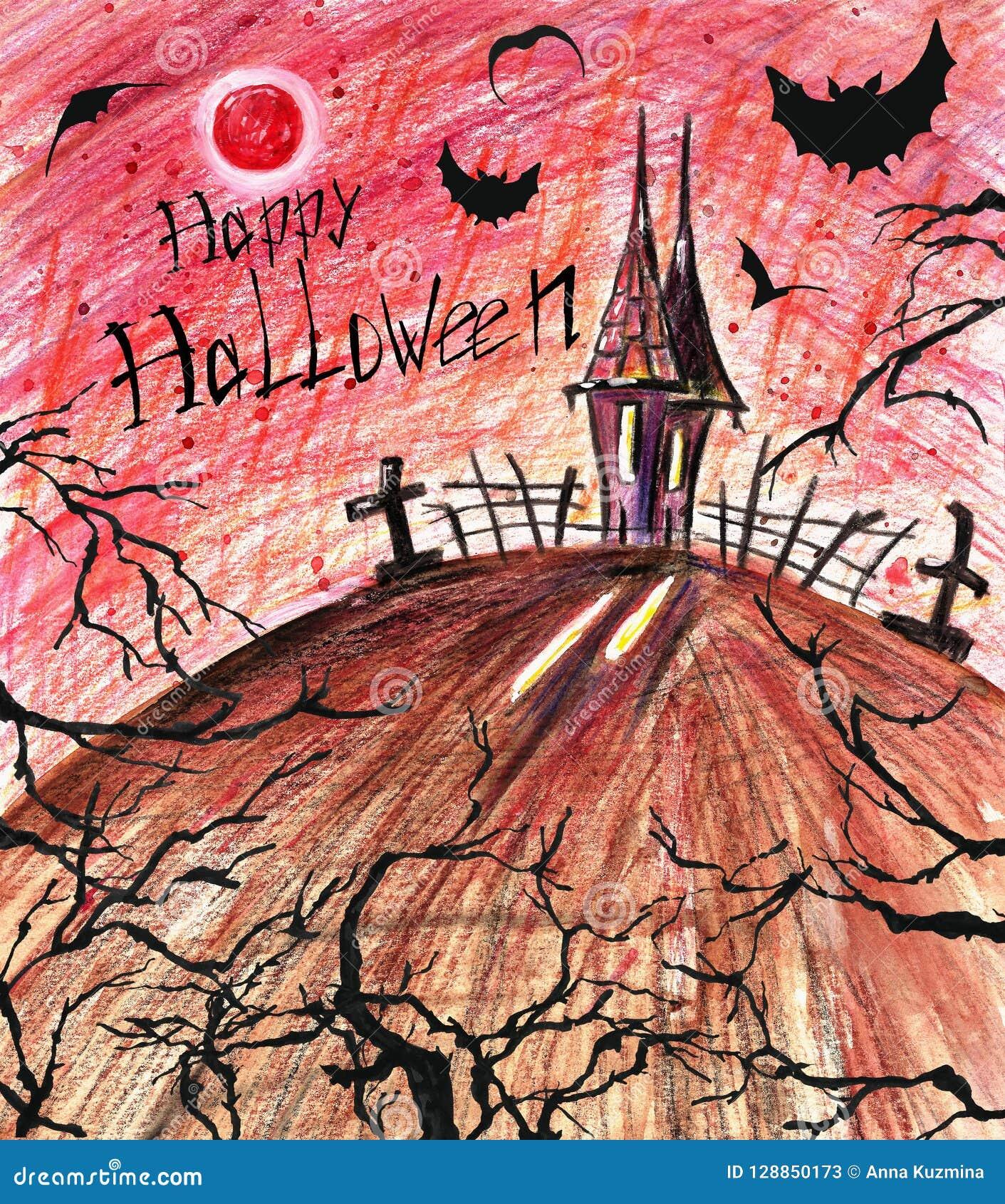 Fond effrayant de Halloween Maison fantasmagorique foncée avec les battes et les arbres noirs