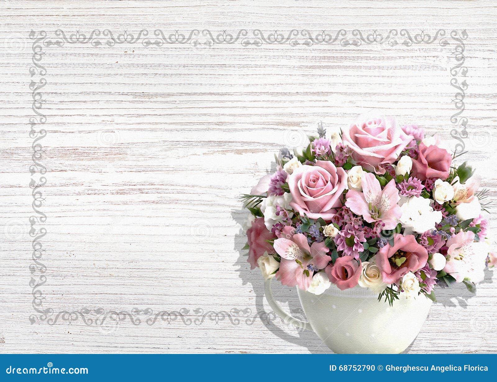Fond en bois blanc de vintage avec des fleurs dans un chic minable de pot de vintage