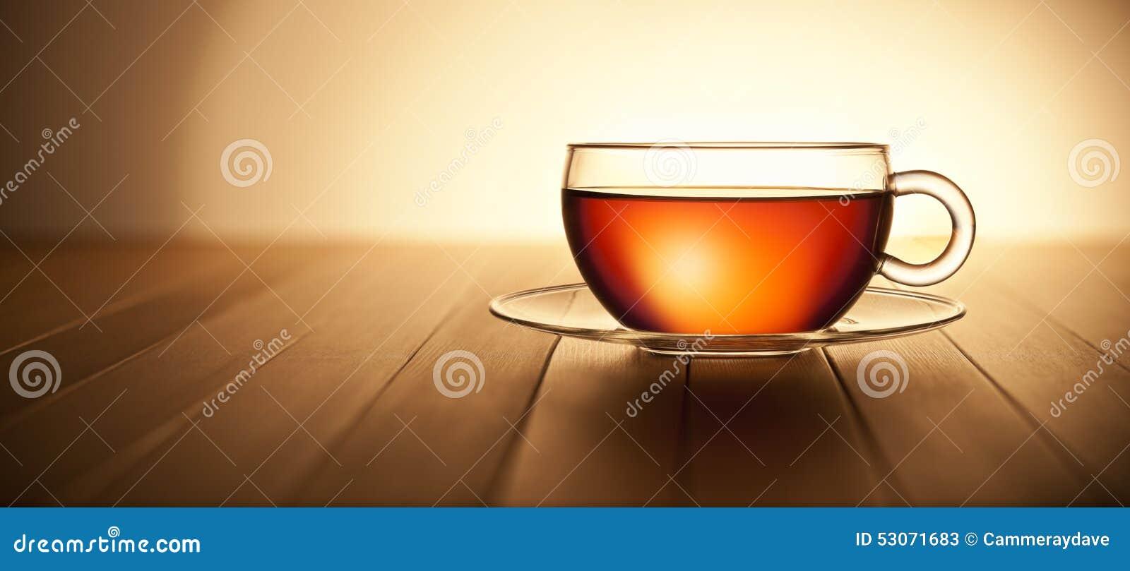 Fond en bois de tasse de thé de bannière