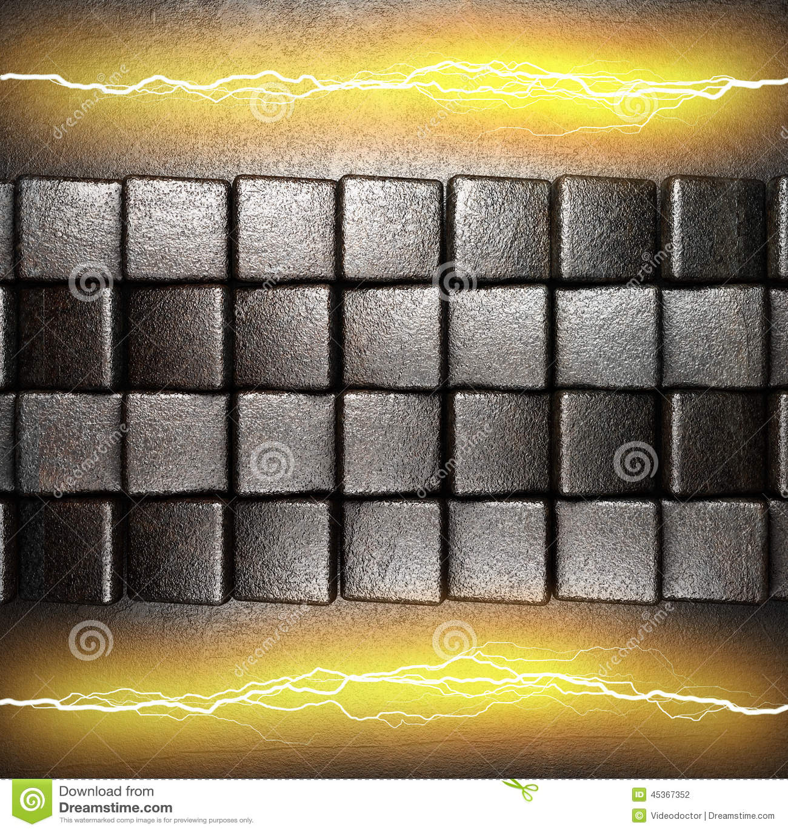 Fond en métal avec la foudre électrique