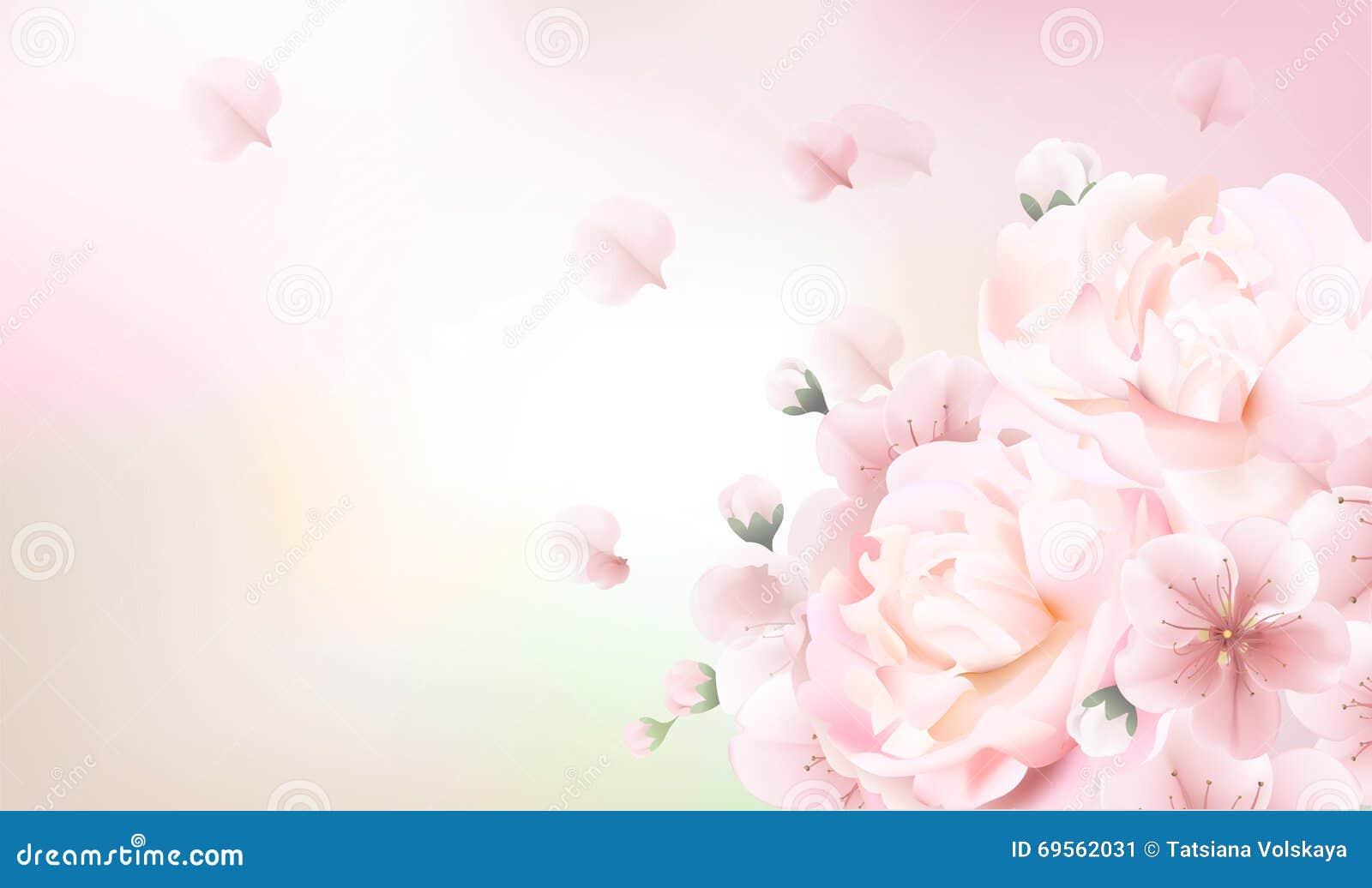 Fond En Pastel Brouillé Avec Des Pétales De Fleur