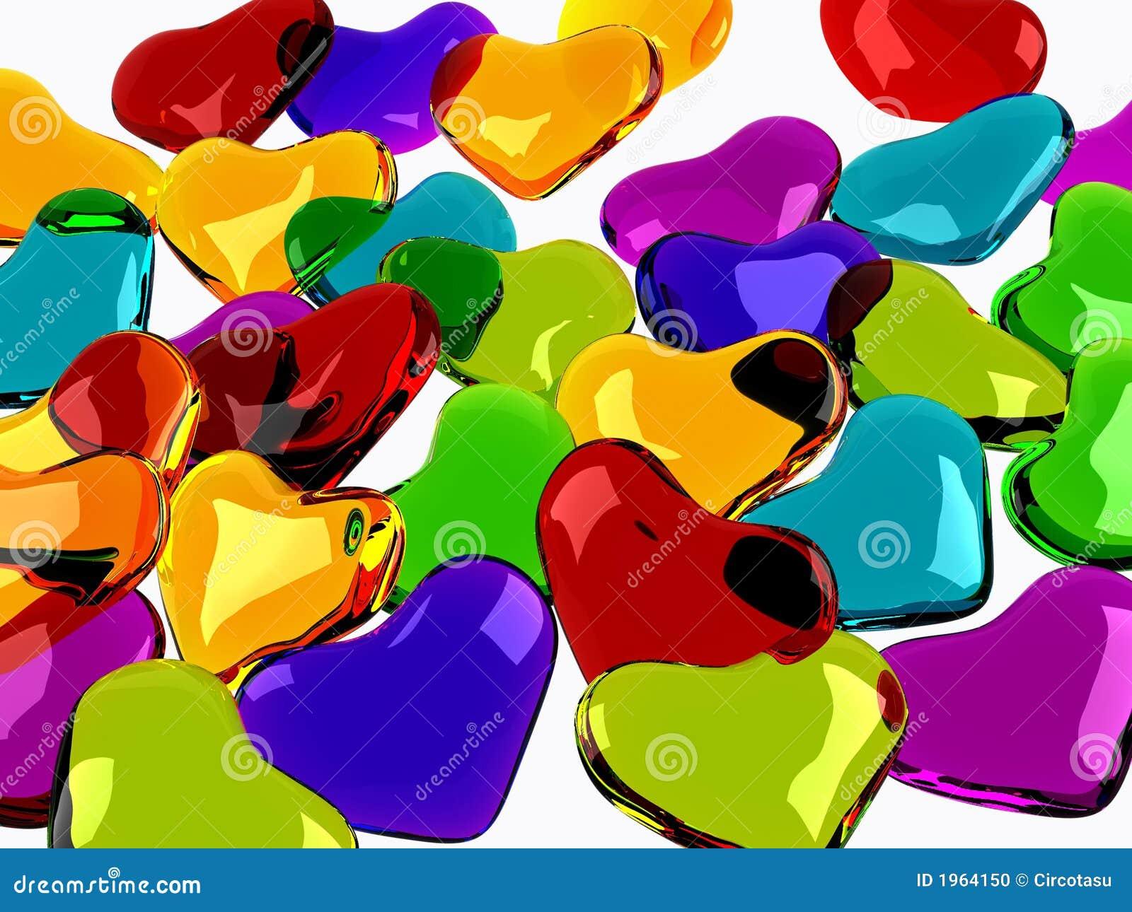 Fond en verre coloré de coeurs