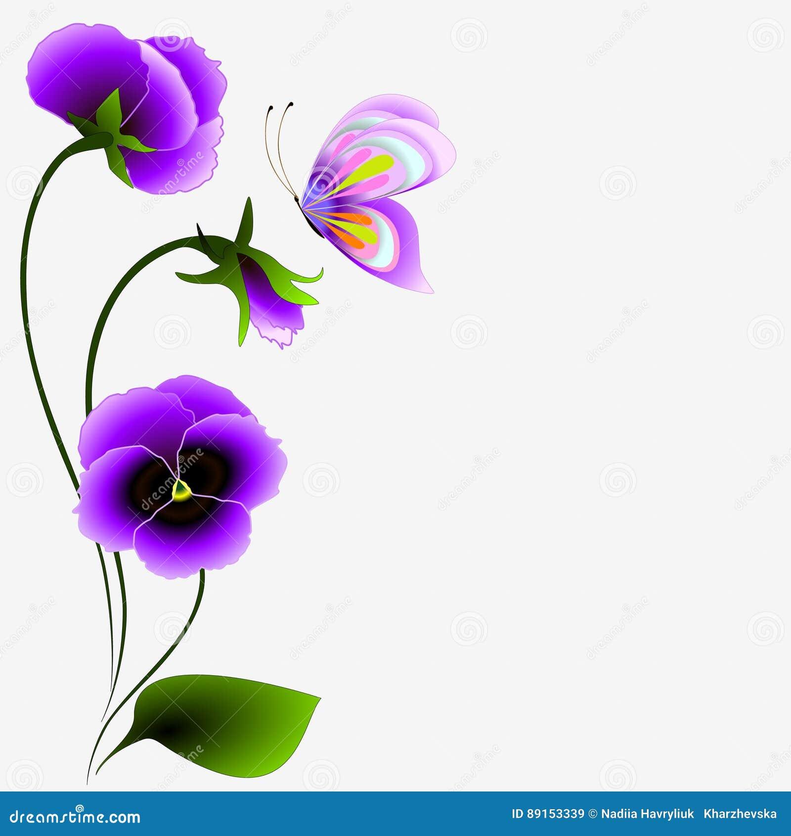 Topic Musique - Page 10 Fond-floral-avec-un-bouquet-des-fleurs-et-du-papillon-de-pens%C3%A9e-89153339