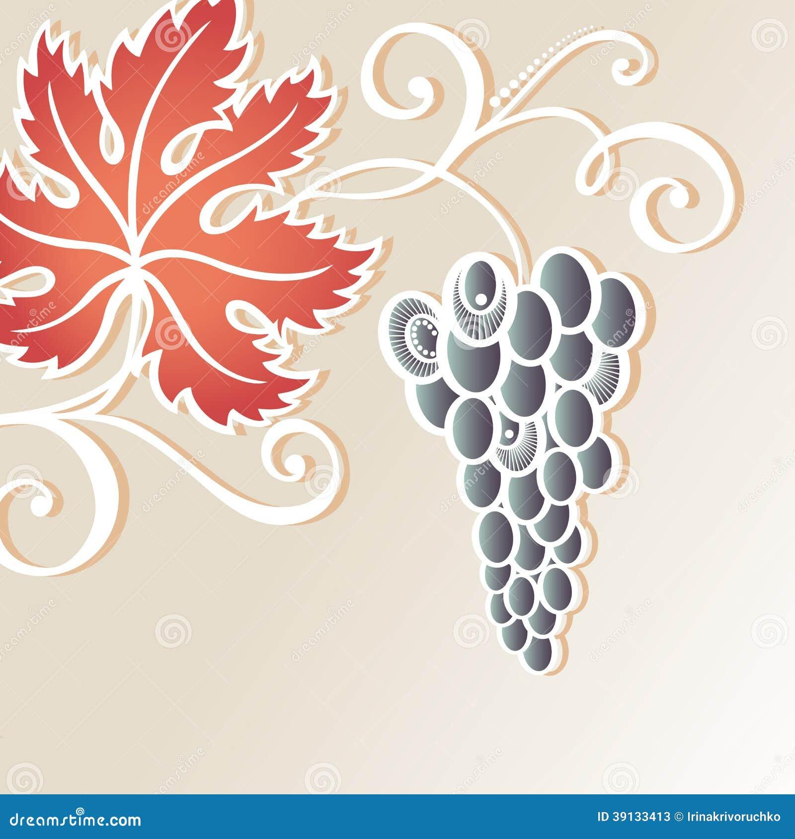 Fond floral coloré par vecteur avec du raisin