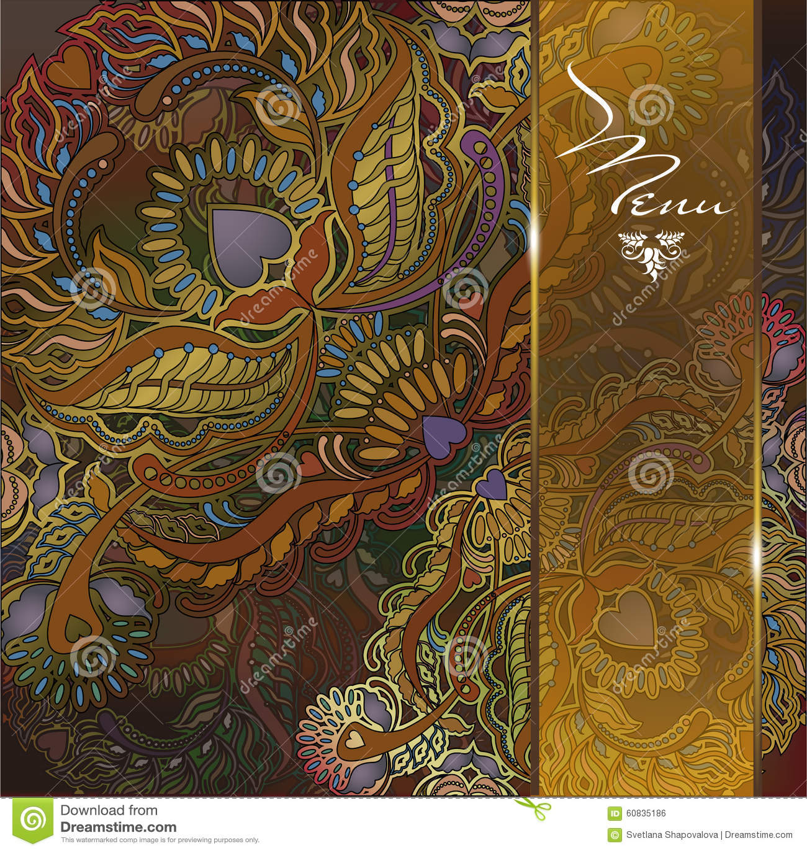 fond floral de menu motif oriental illustration de vecteur image 60835186. Black Bedroom Furniture Sets. Home Design Ideas