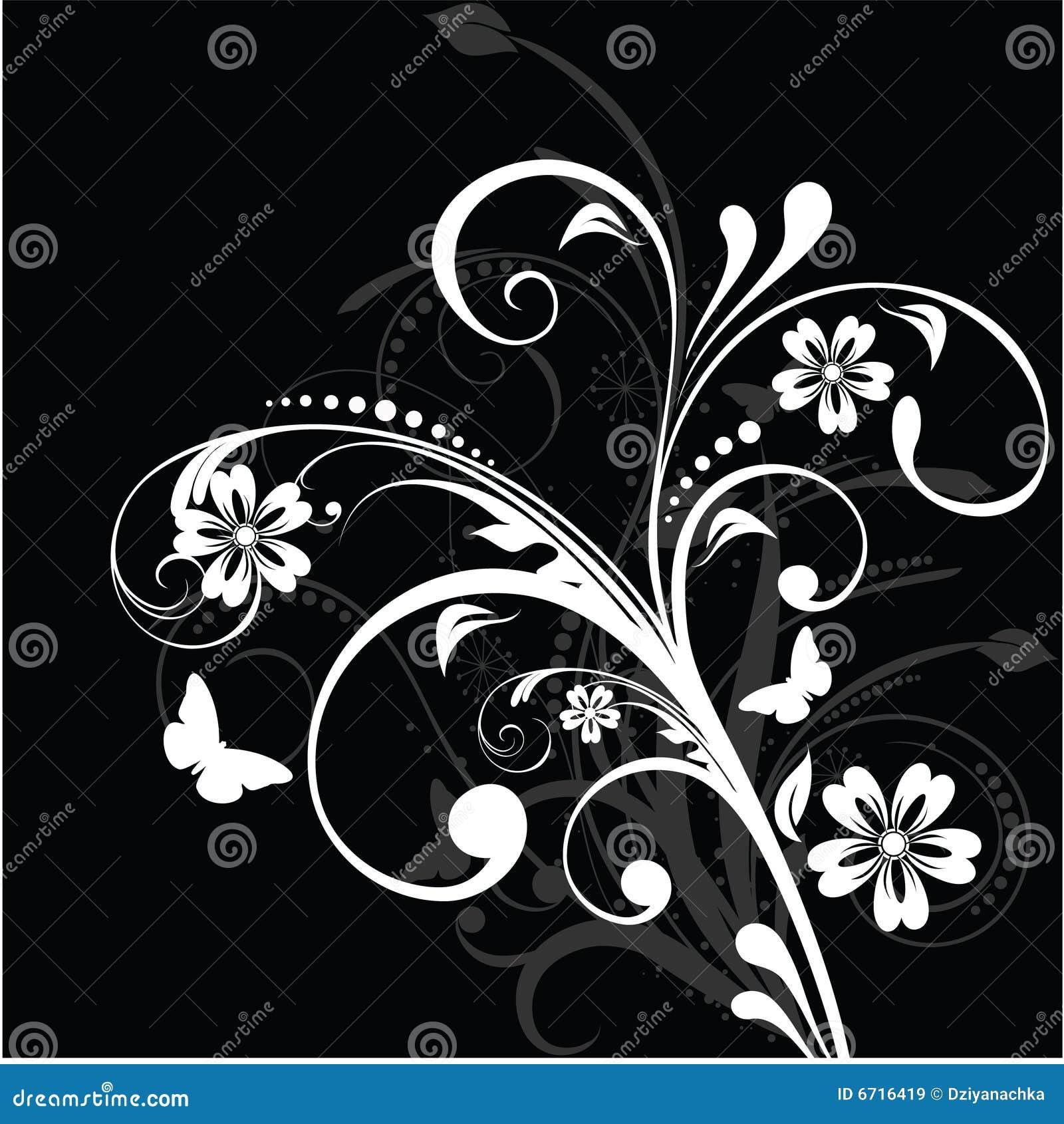 fond floral noir et blanc illustration de vecteur. Black Bedroom Furniture Sets. Home Design Ideas