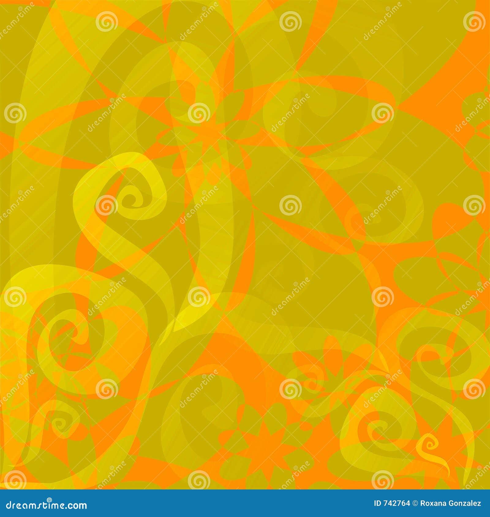 Fond floral (orange - vert de limette)