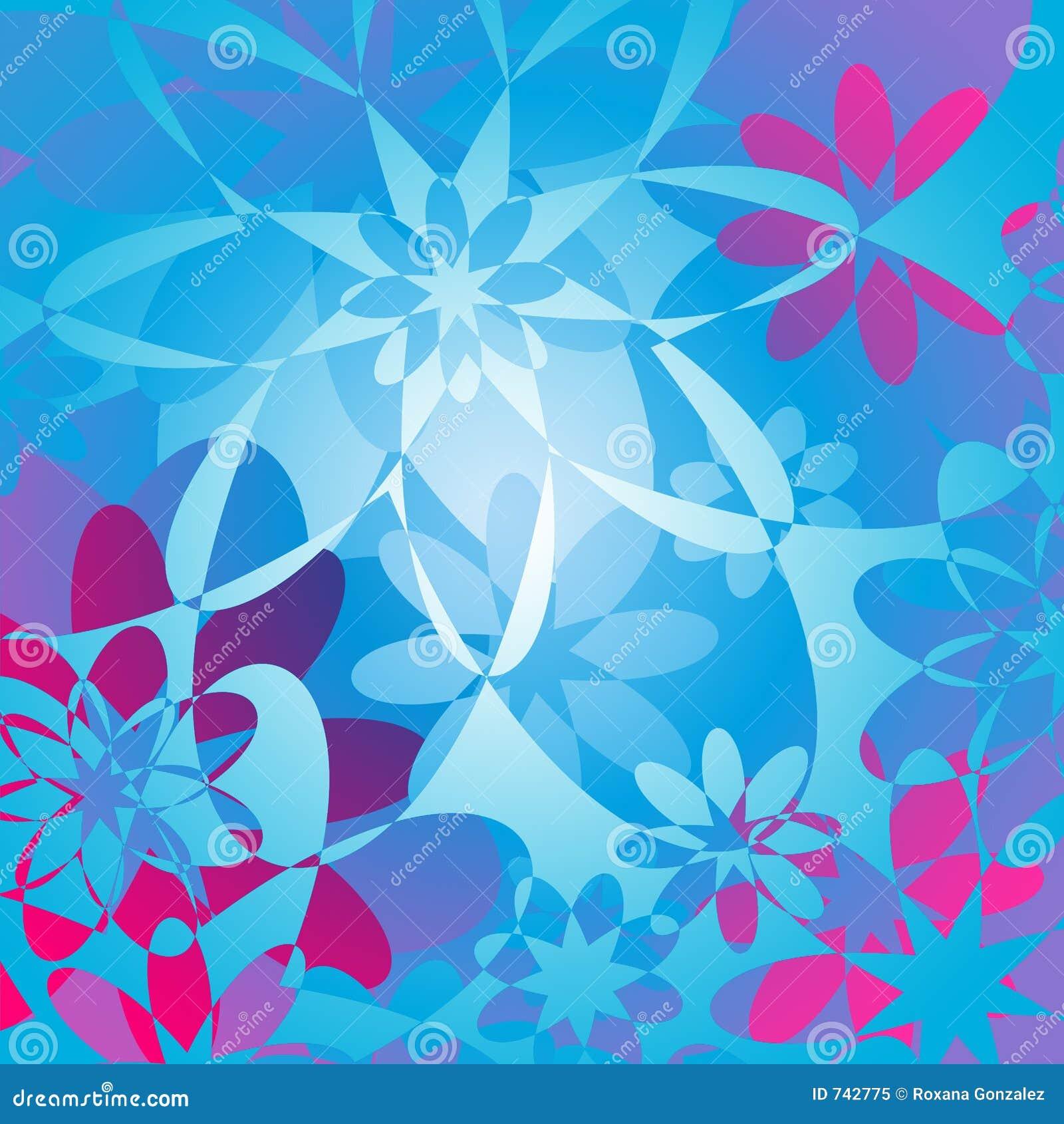Fond floral - rose et bleu