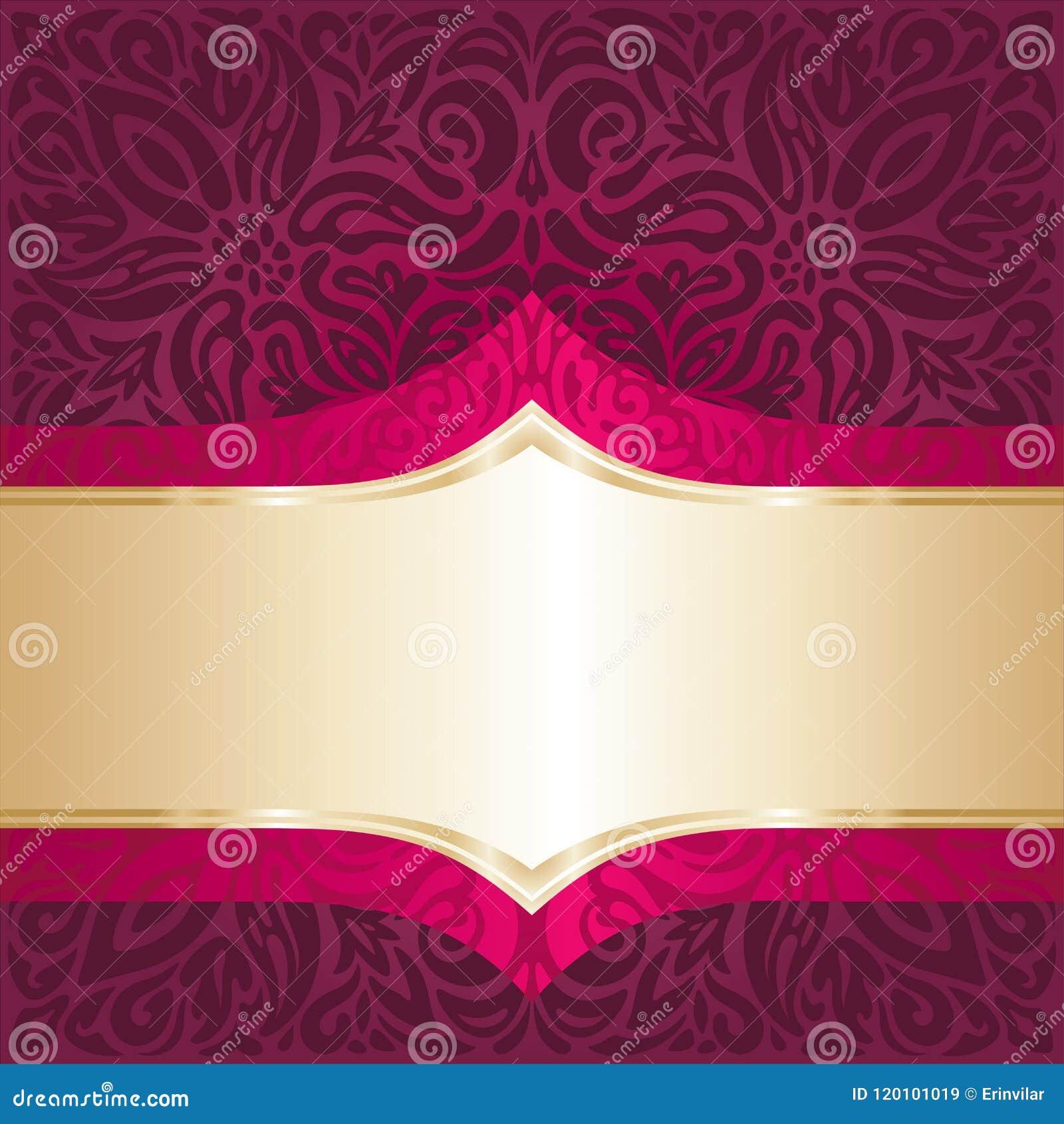 Fond floral rouge royal avec le papier peint de luxe de mandala de conception d invitation de vintage d éléments d or