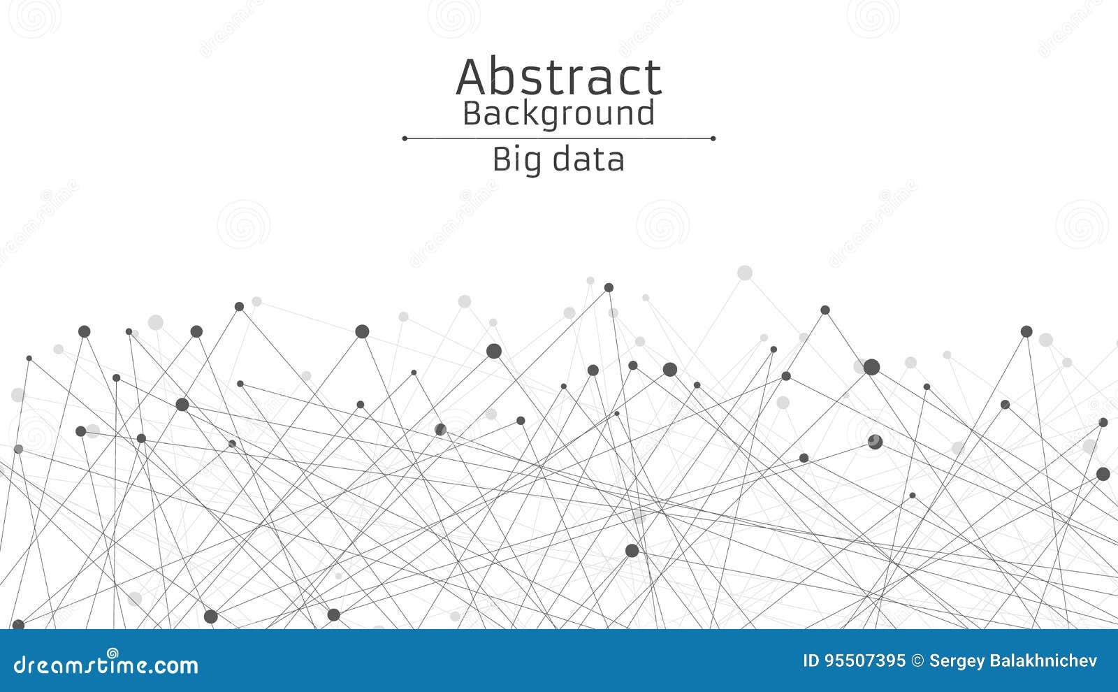 Fond futuriste abstrait Connexion des lignes et des points dans le noir Fond blanc Web noir et relié au réseau De pointe et la sc