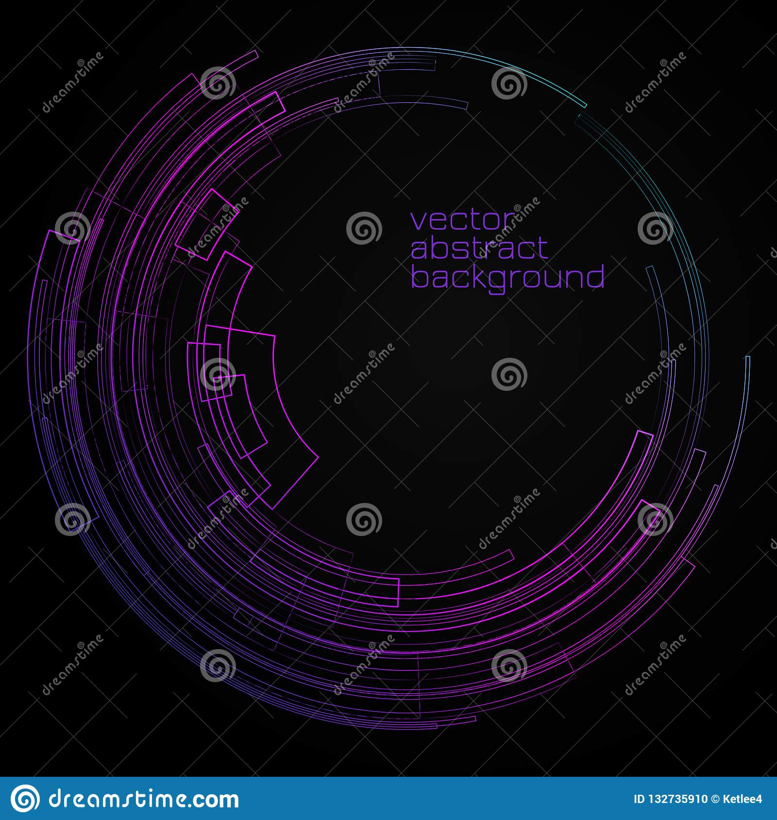 Fond géométrique abstrait avec le cercle lumineux de cercle concentrique sur les lignes décoratives géométriques graphiques de fo