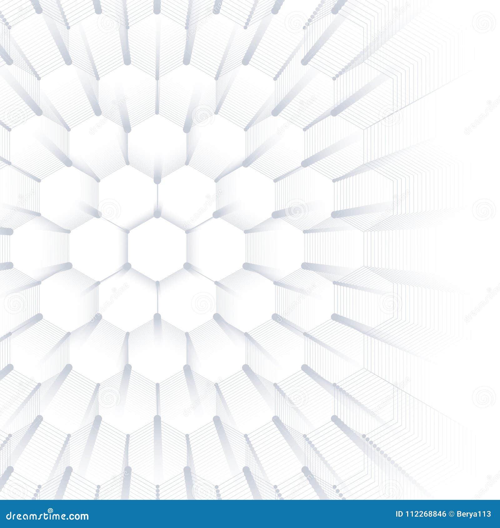 Fond géométrique abstrait, texture hexagonale Grands visualisation de données et fond de communication dessin