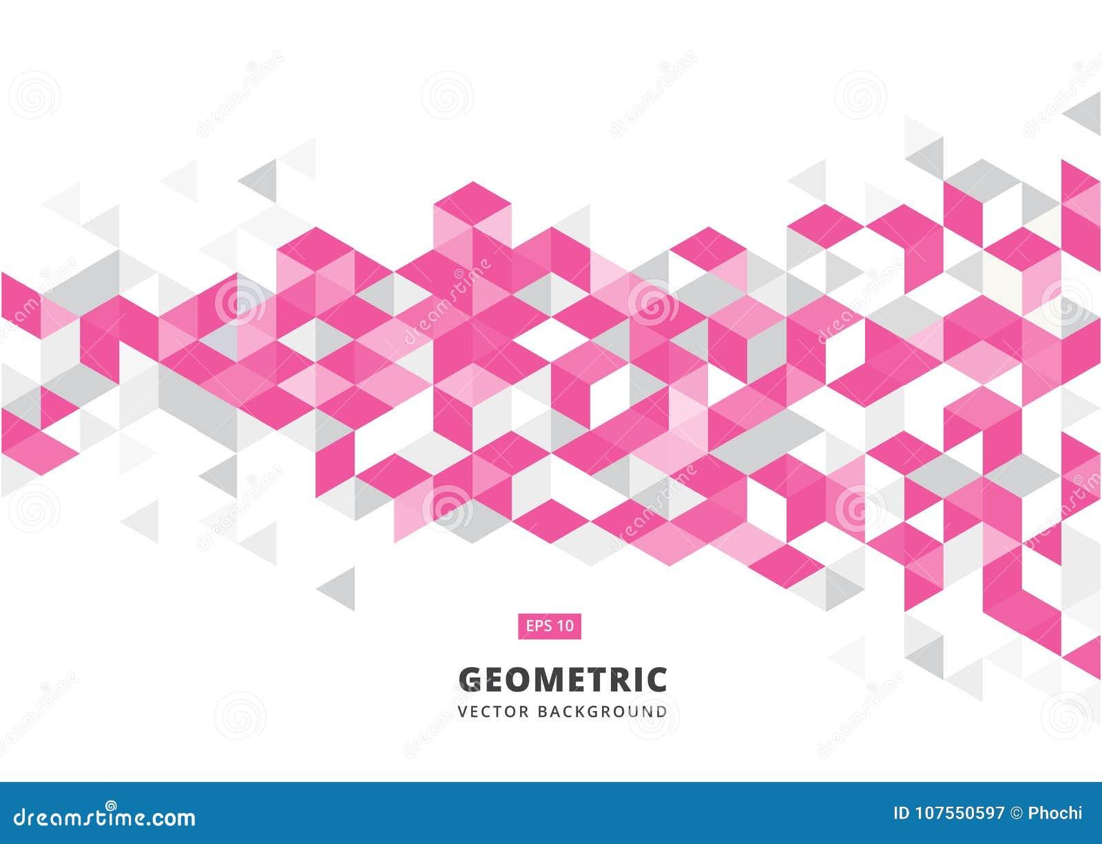 Fond Geometrique Rose Abstrait Avec Les Triangles Polygonales Petit