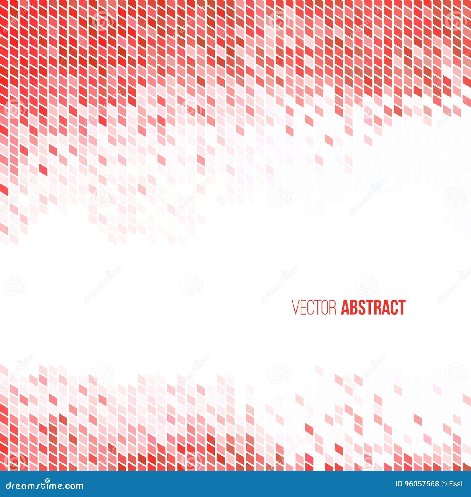 Fond géométrique rouge-clair et blanc abstrait