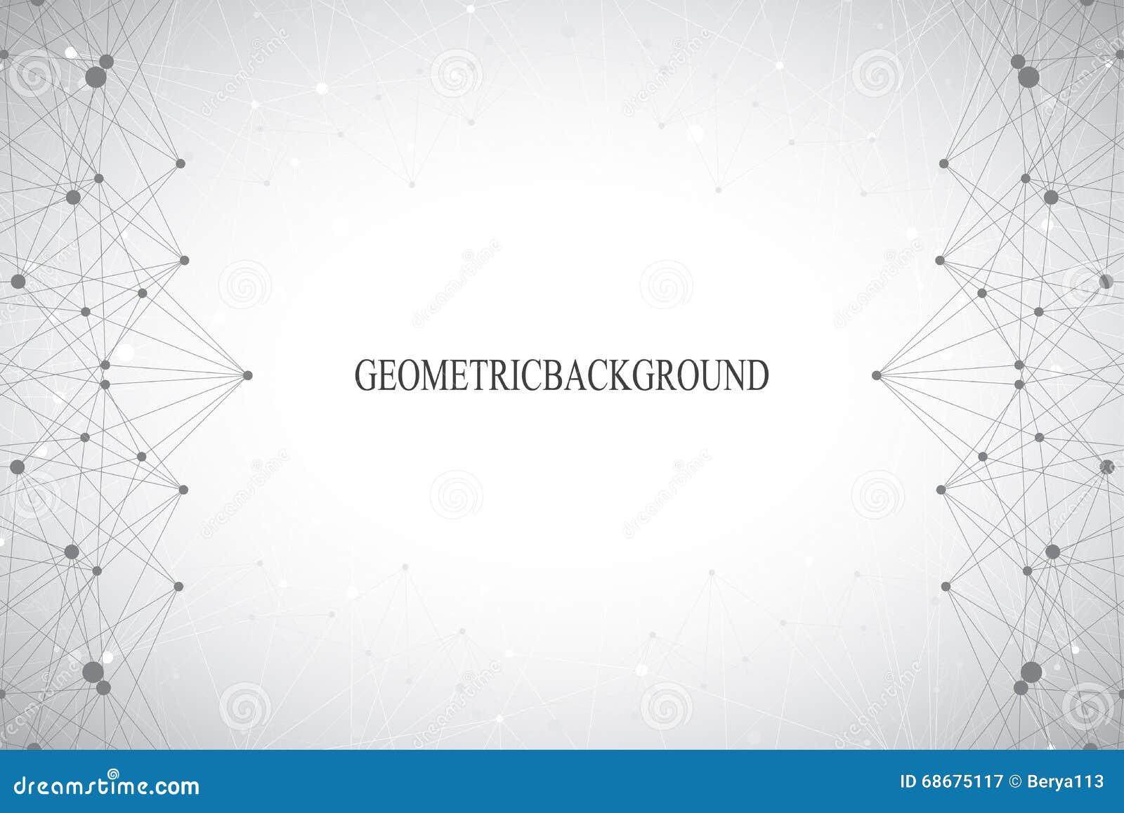 Fond gris abstrait géométrique avec les lignes et les points reliés Médecine, la science, contexte de technologie pour votre conc
