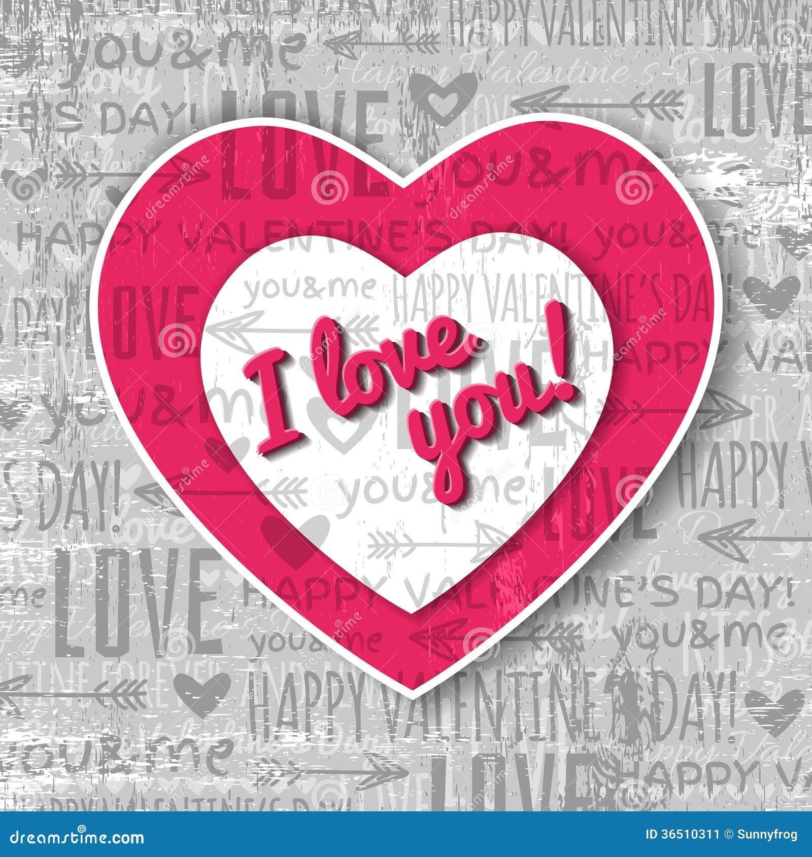 Fond gris avec le coeur et le souhait rouges de valentine