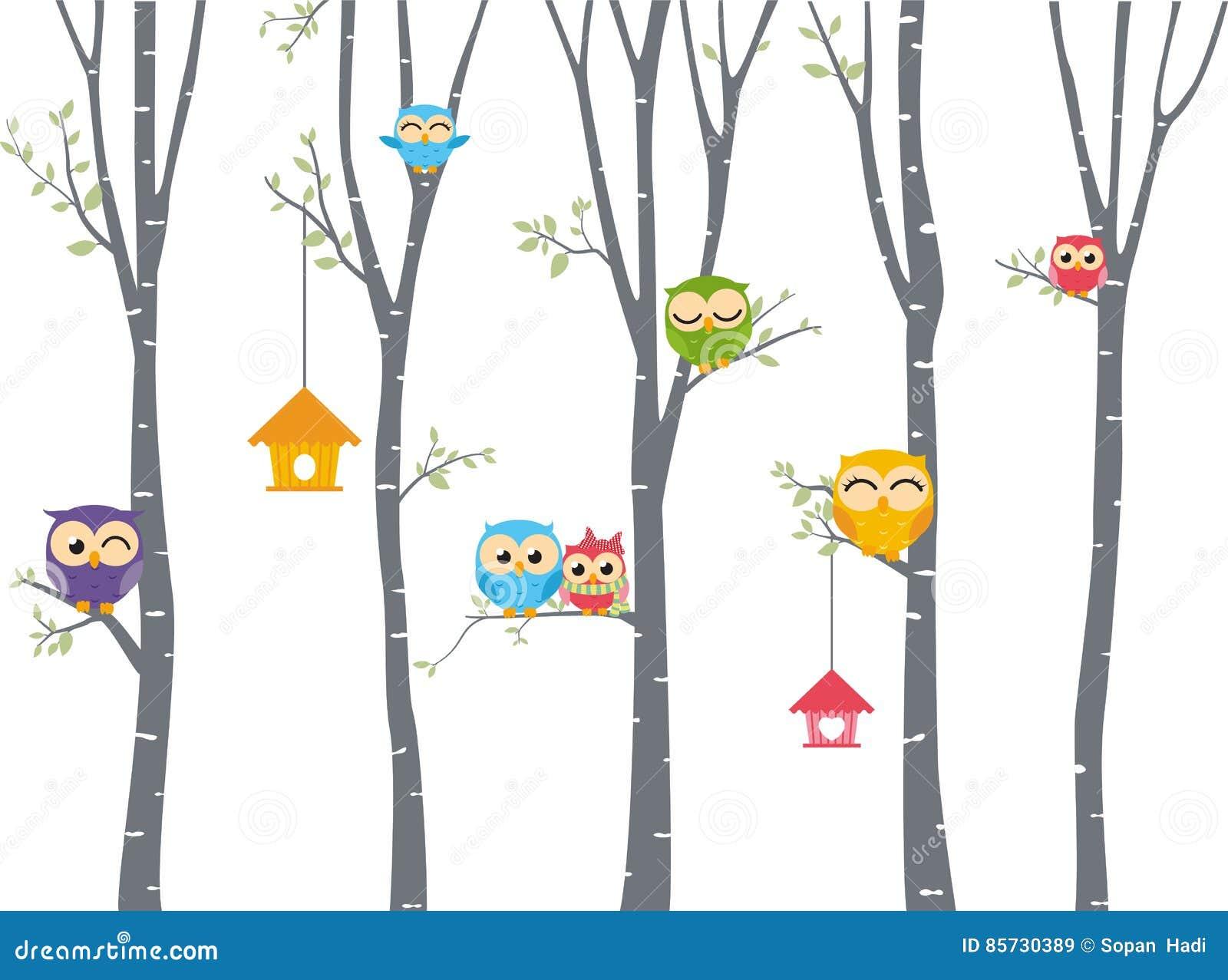 Fond heureux de hibou avec la branche d arbre
