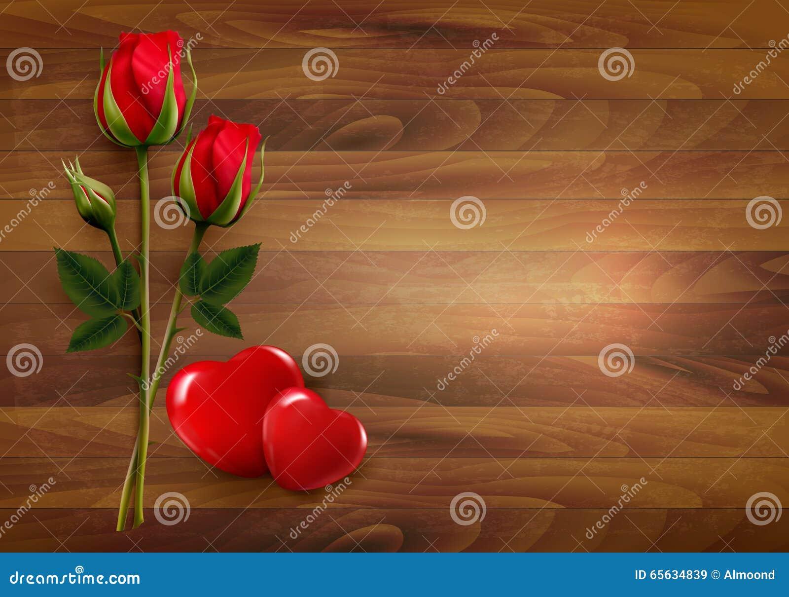 Fond heureux de Saint-Valentin Rose avec deux coeurs