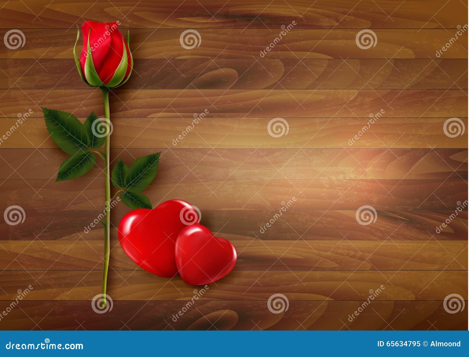 Fond heureux de Saint-Valentin Roses avec deux coeurs