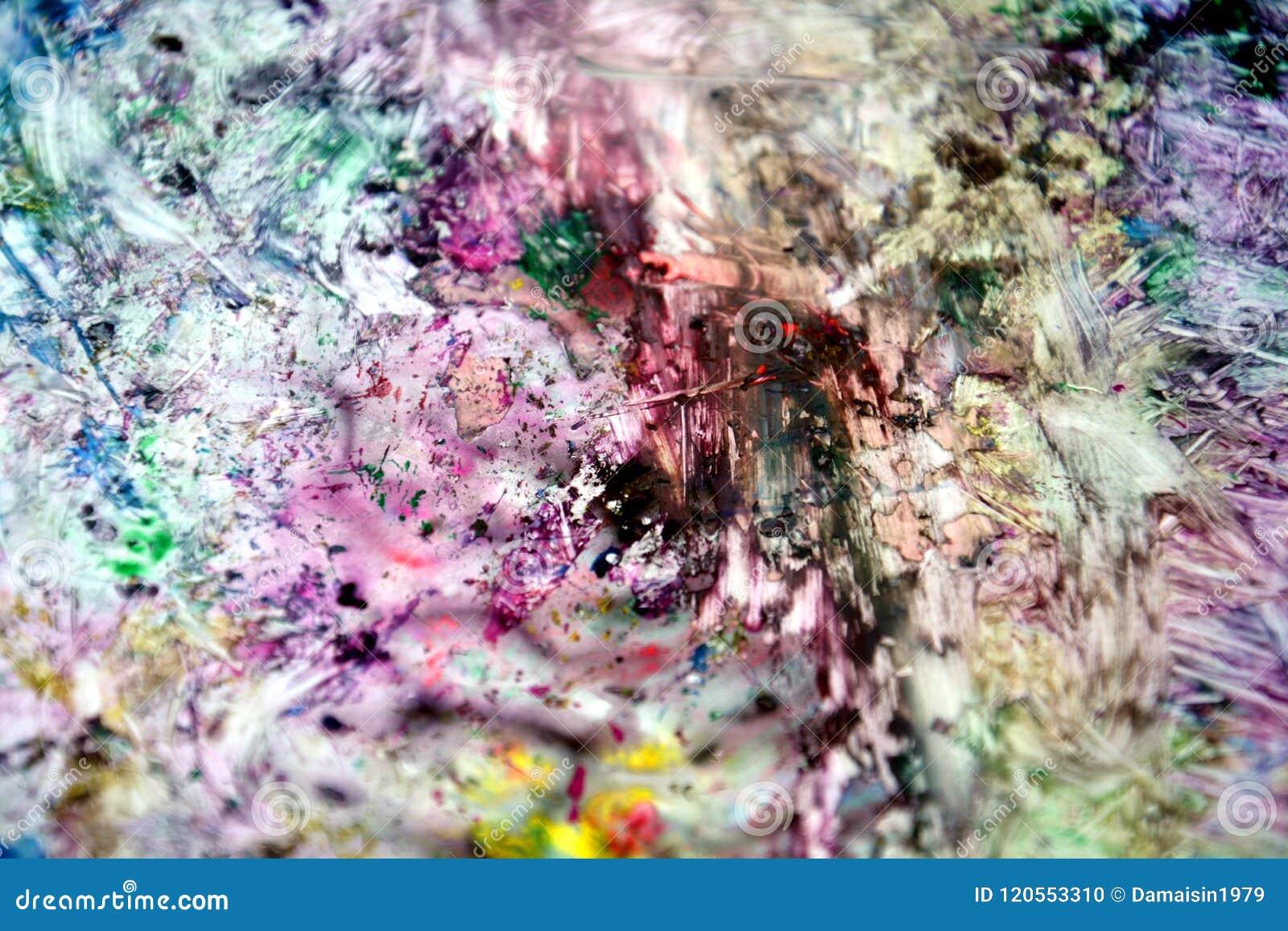 Fond Humide Abstrait Vif Argenté Jaune Noir Vert Violet De Peinture ...