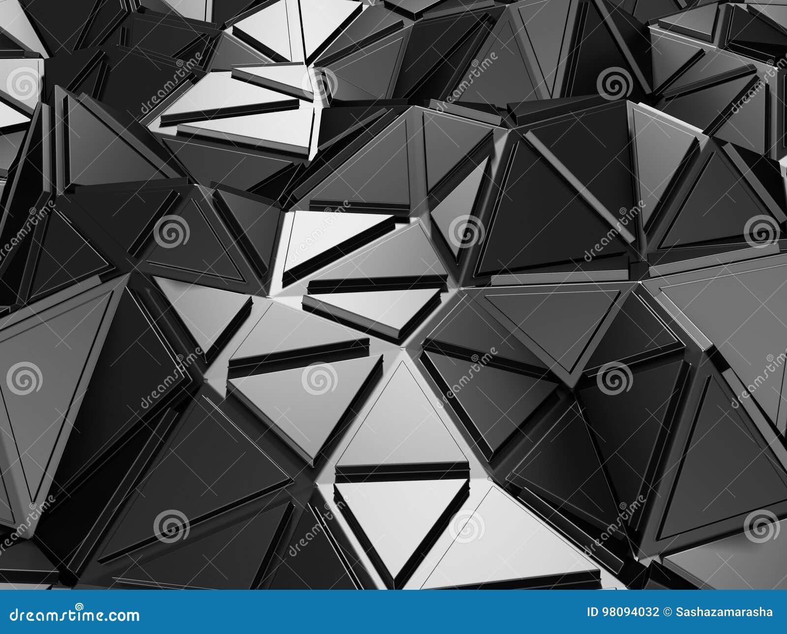 Fond industriel de modèle argenté métallique foncé de triangle