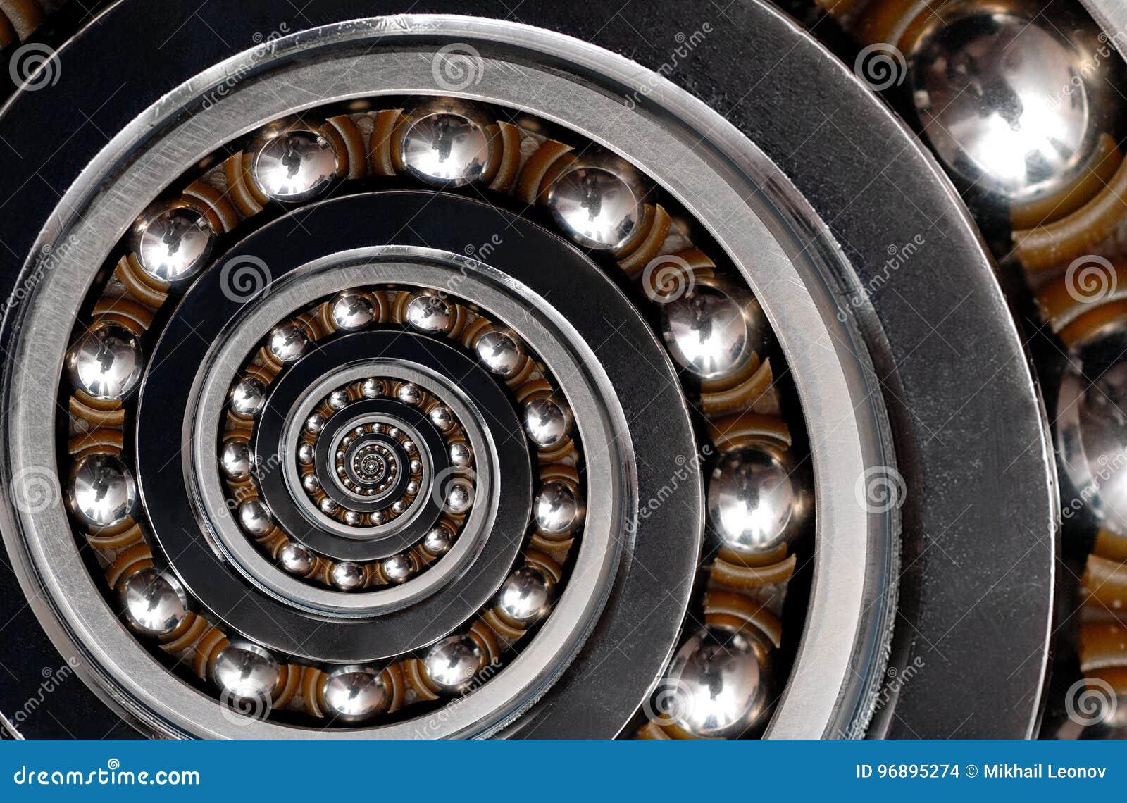 Fond industriel irréaliste incroyable drôle de modèle d abrégé sur spirale roulement à billes Modèle en spirale de fractale d abr