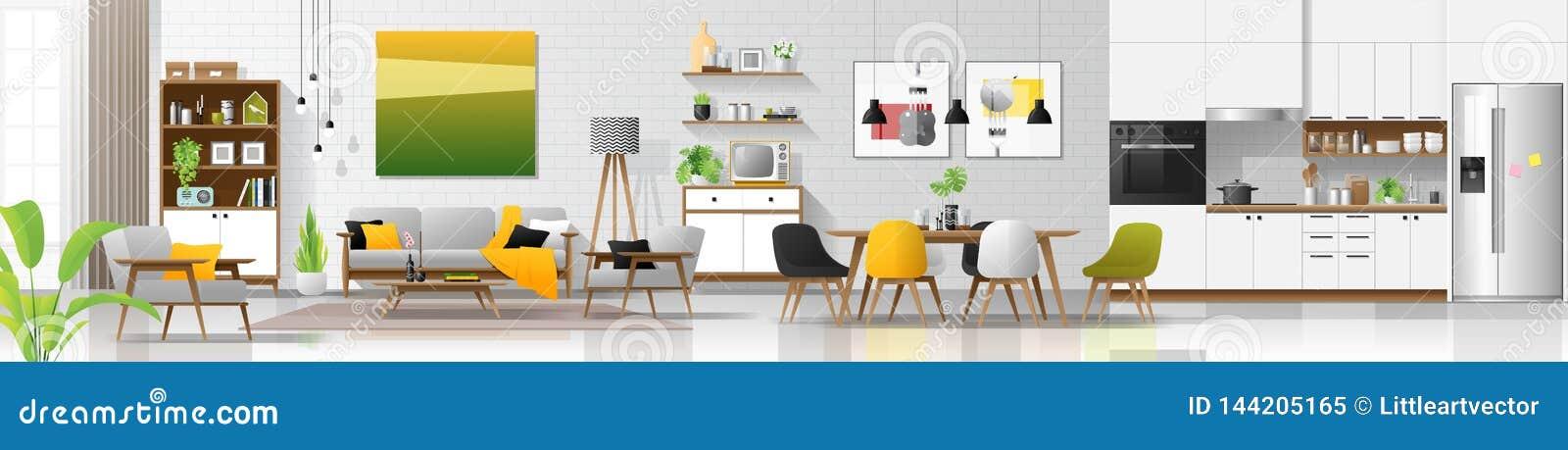 Fond intérieur de maison moderne avec le salon, la salle à manger et la combinaison de cuisine