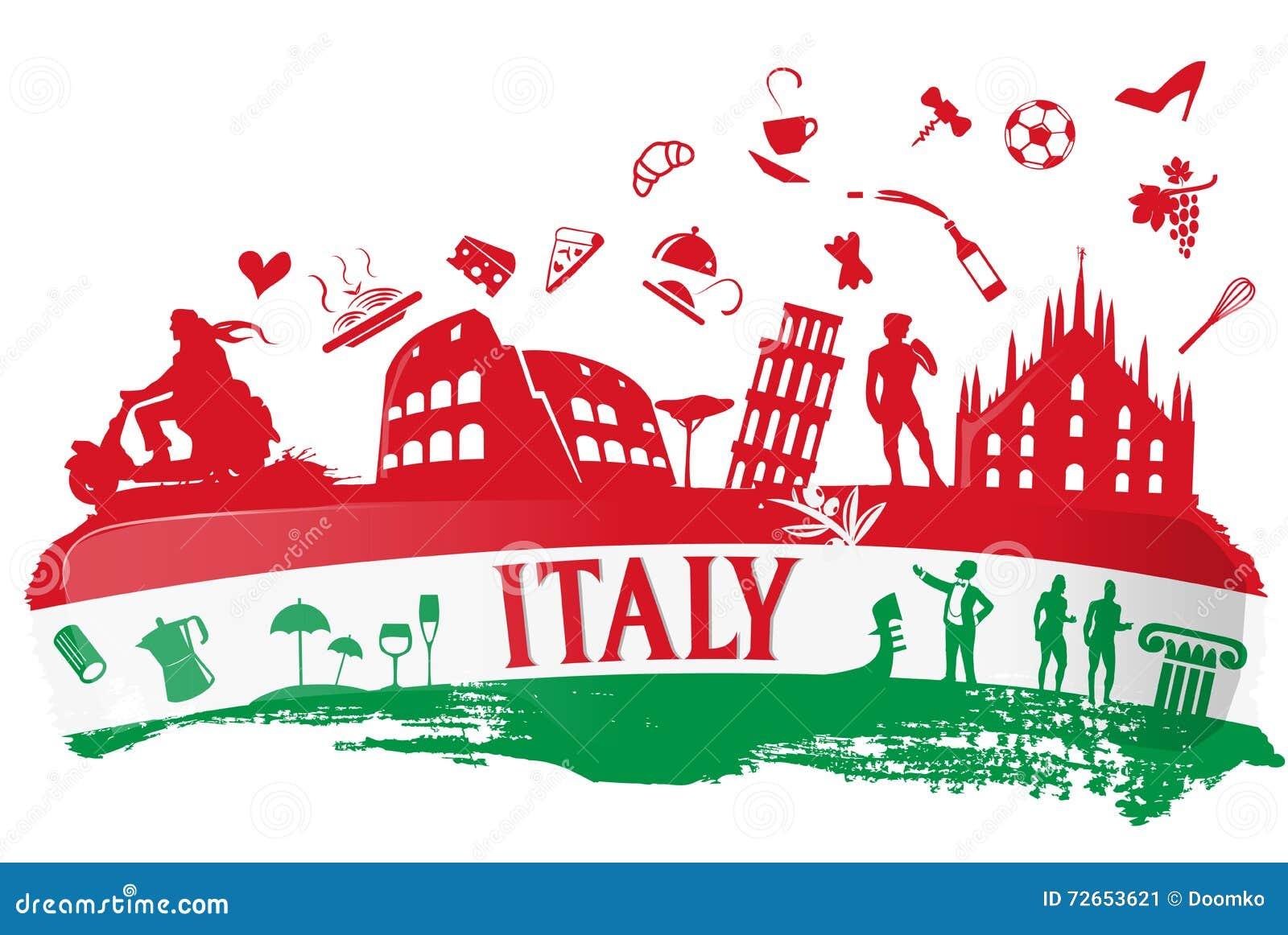 Super Fond Italien Avec L'ensemble De Symbole De Silhouette Illustration  CB45