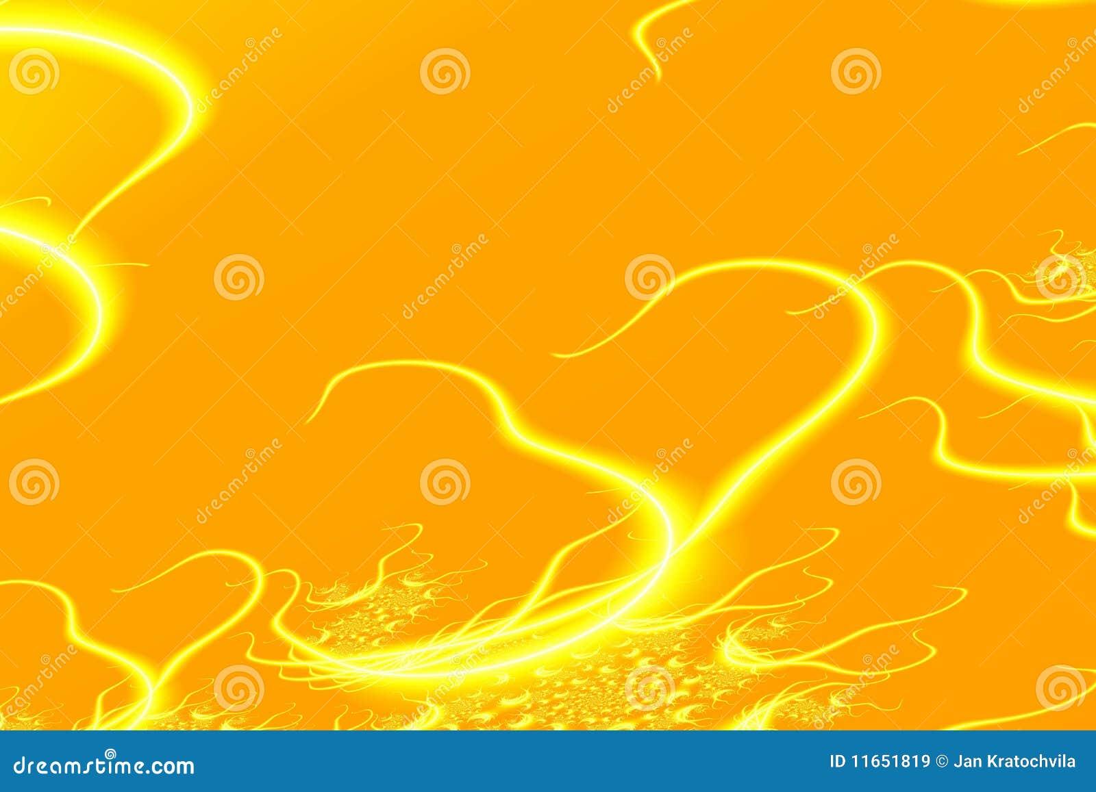 Fond jaune abstrait avec des coeurs