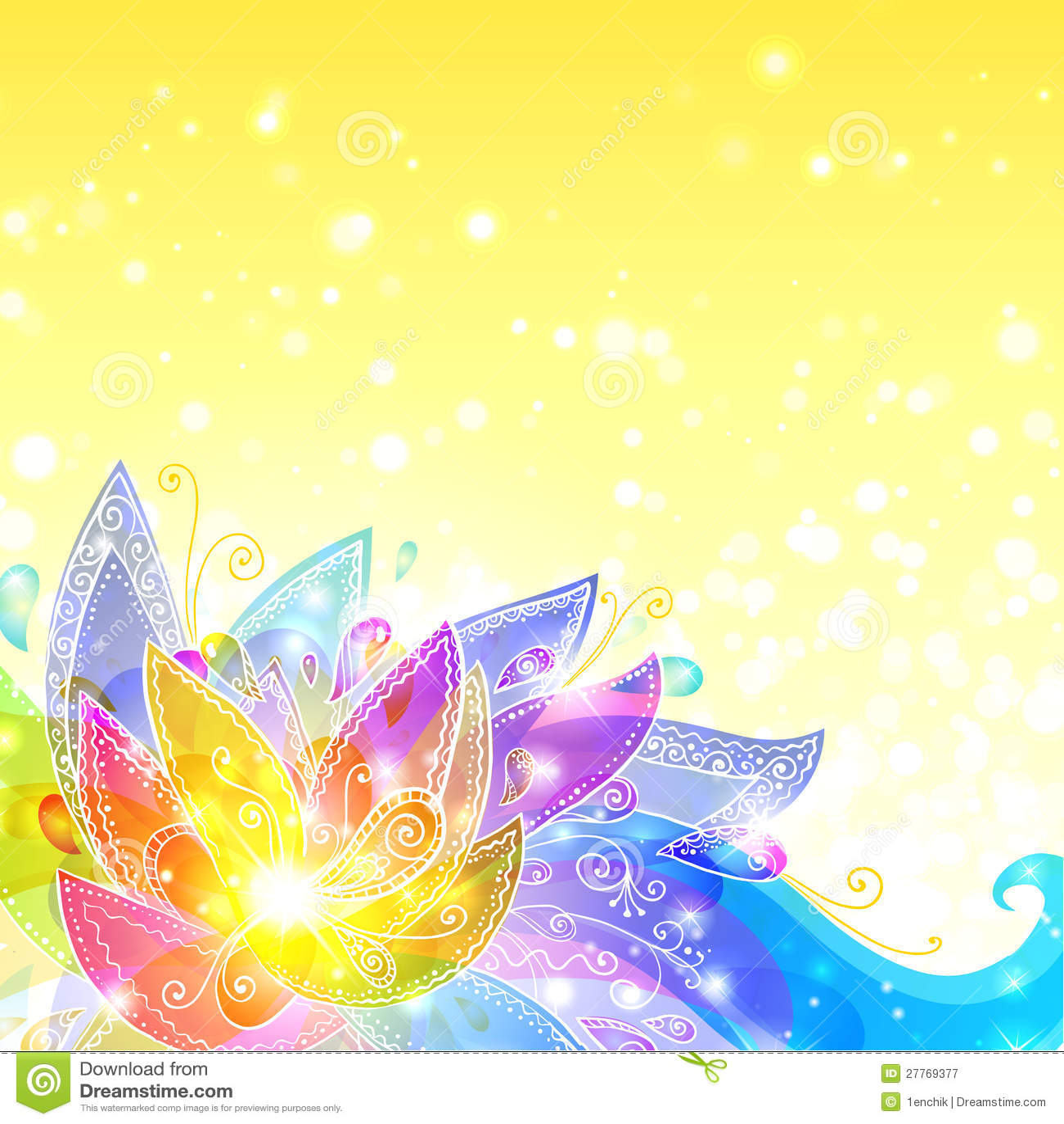 Fond jaune de vecteur de fleurs brillantes