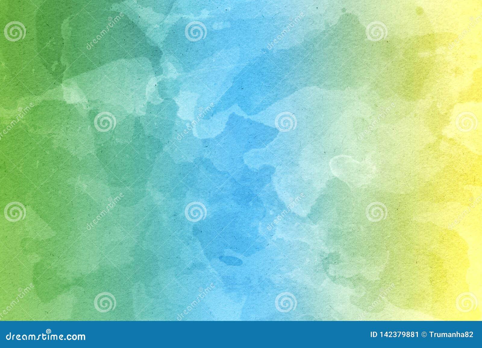 Fond jaune, vert et bleu abstrait d aquarelle