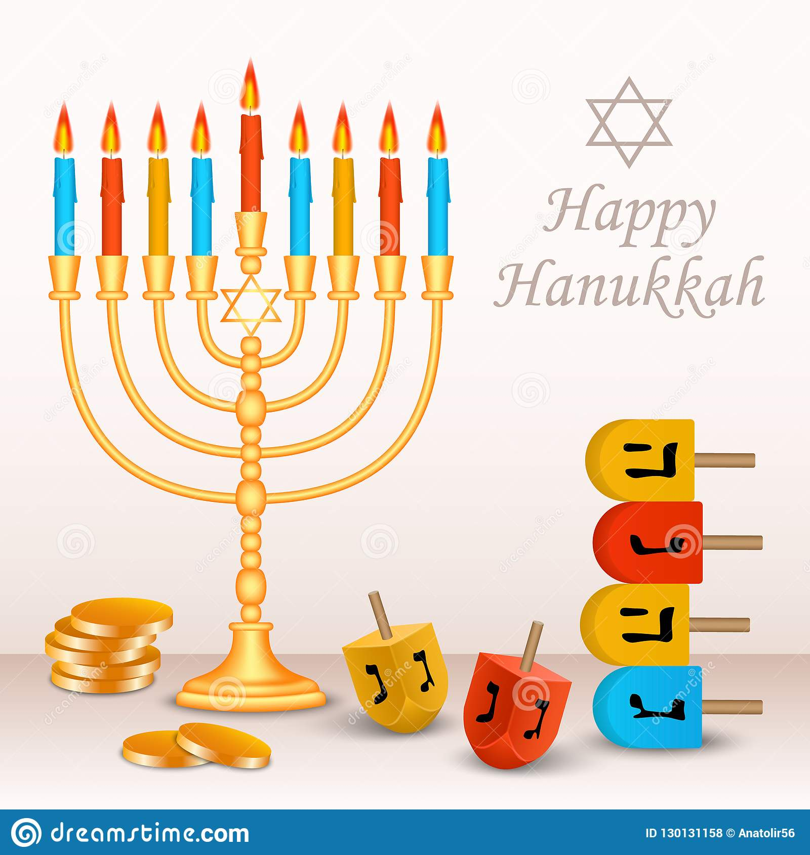 Fond juif heureux de concept de Hanoucca, style réaliste