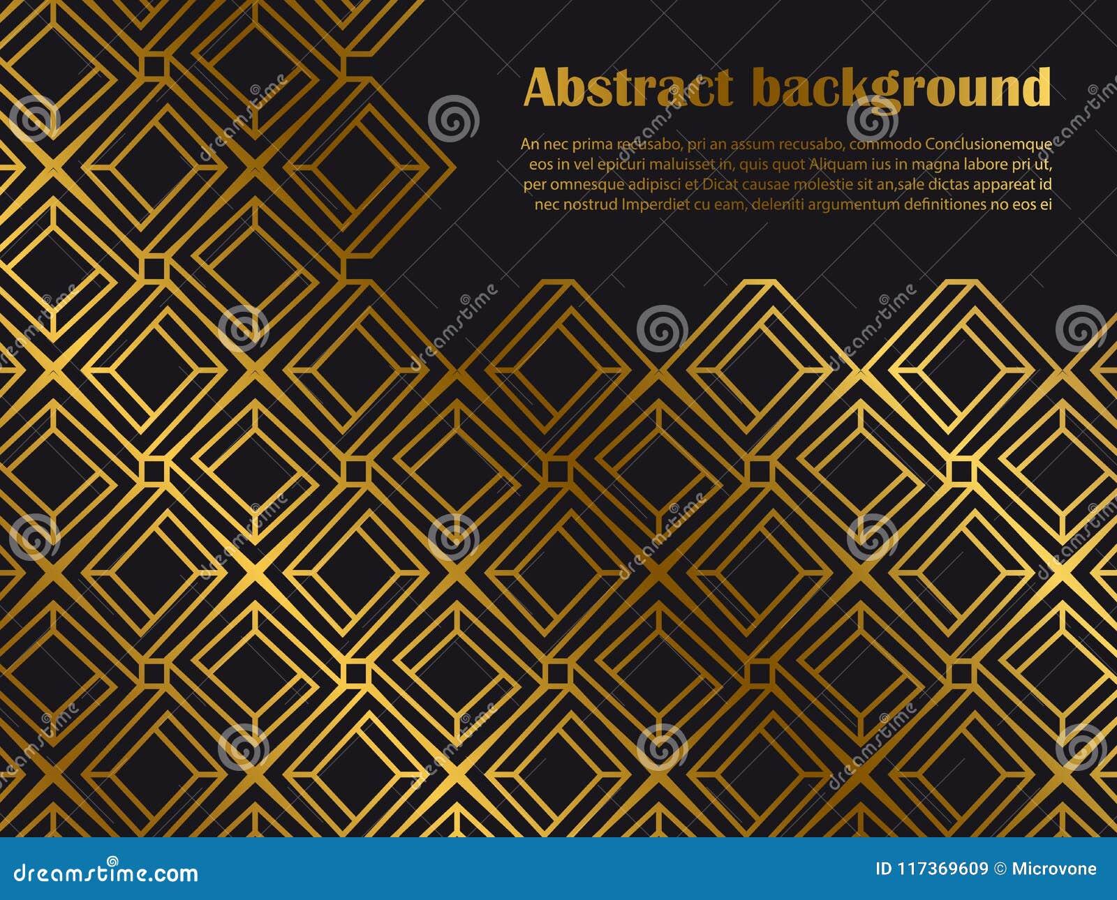 Fond minimal abstrait de style avec des formes géométriques d or