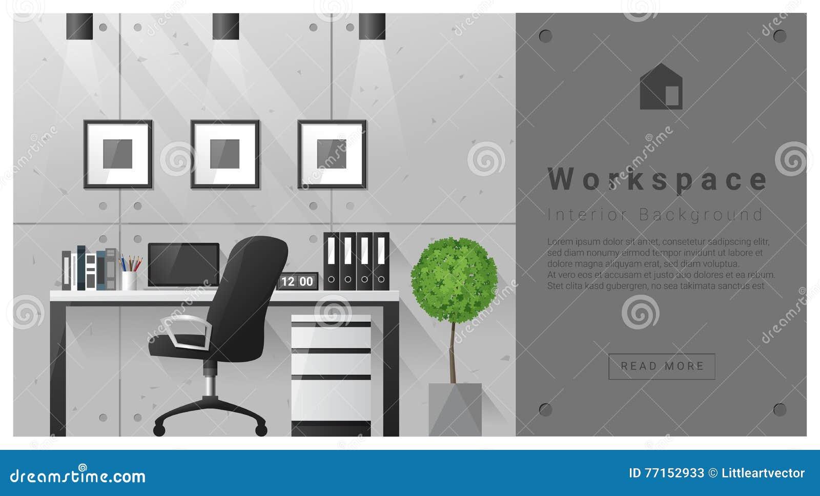 Fond moderne d espace de travail de conception intérieure