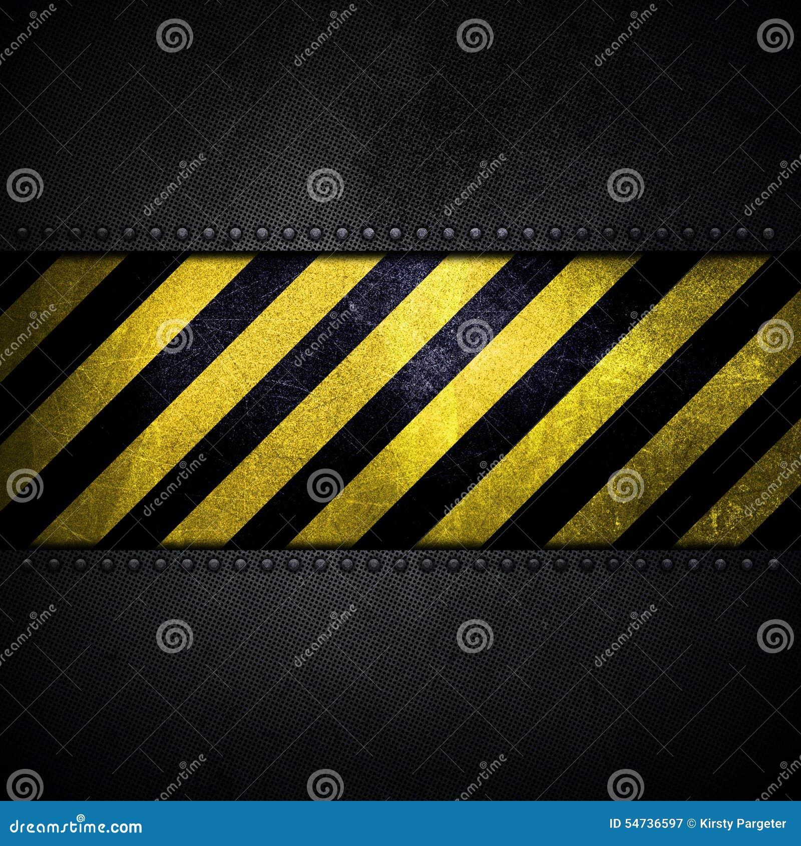fond m tallique abstrait avec la bande jaune et noire d 39 avertissement illustration stock image. Black Bedroom Furniture Sets. Home Design Ideas