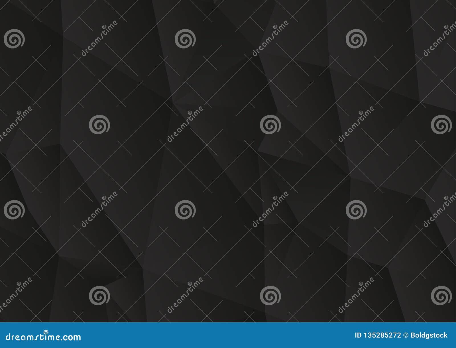 Fond noir abstrait triangulaire de vecteur, bas poly fond de mosaïque de triangles