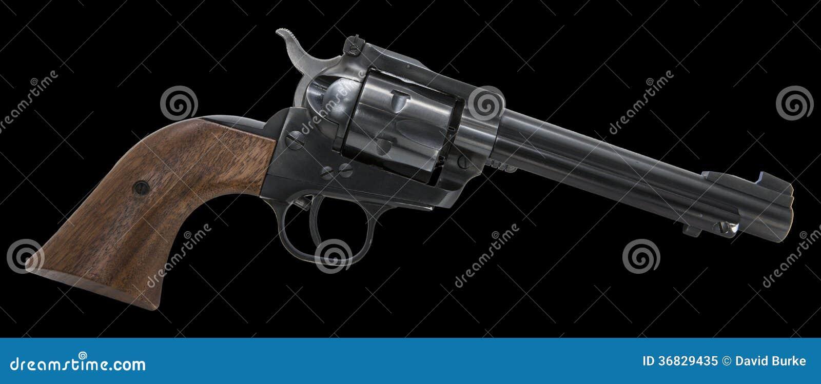 Fond noir d isolement par arme de revolver
